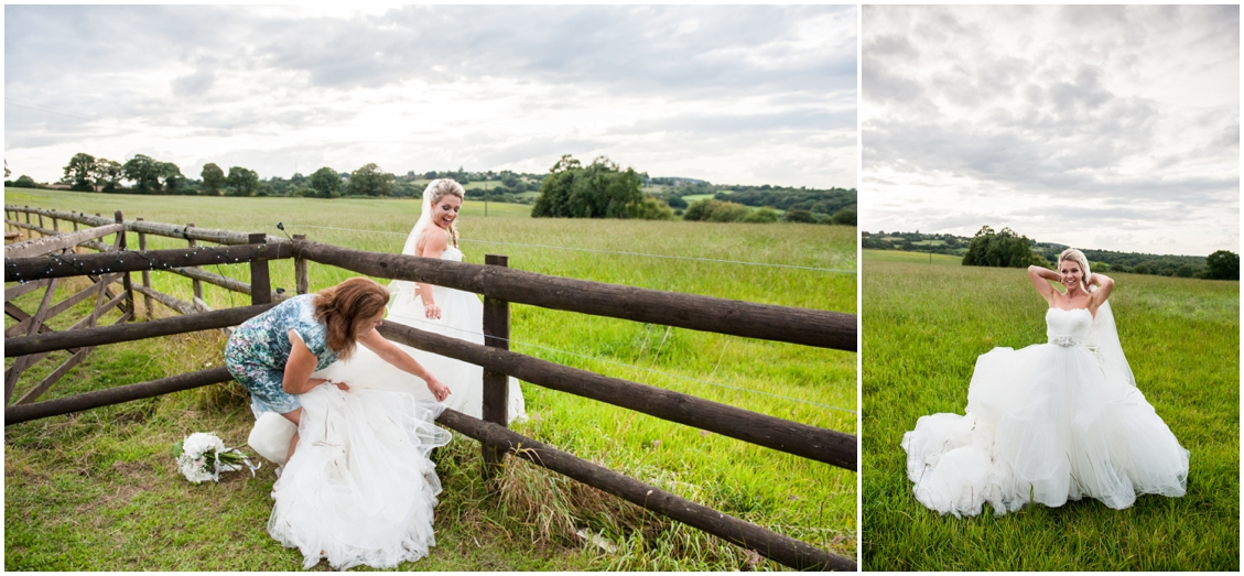 Laurie and Matt's DIY Wedding at their home on the farm with horses, sheep and three ceremonies, two dresses