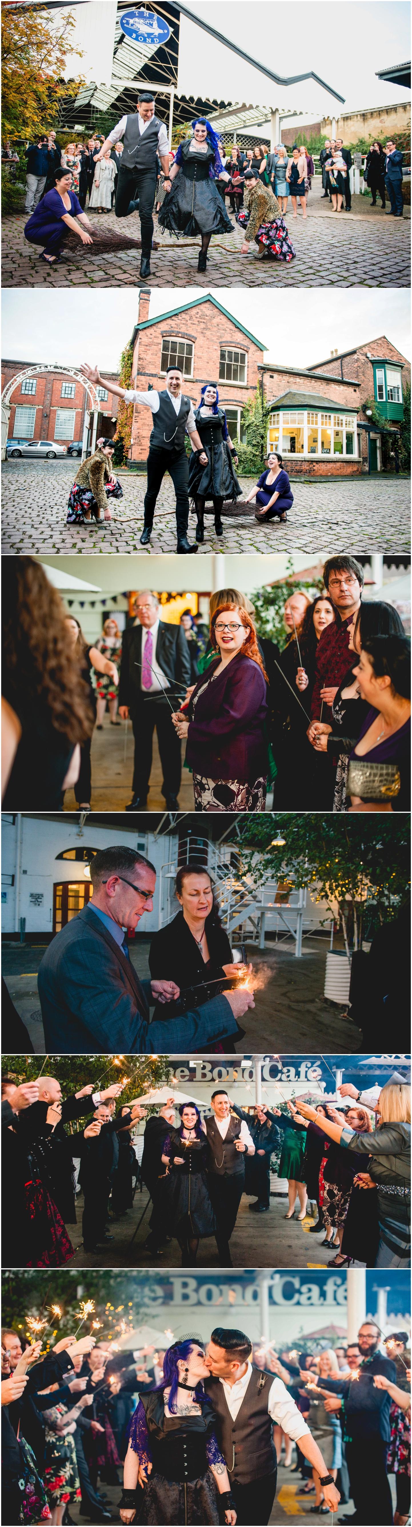 Bond Company Wedding, Digbeth, Lisa Carpenter Photography, Birmingham, goth wedding, alternative wedding, photos, sparklers, sparkler exit