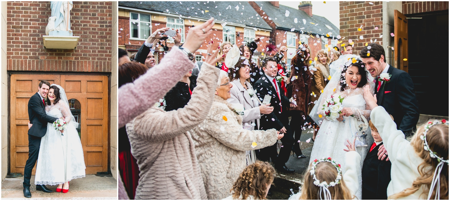 Old School House, Weeford, Winter Wedding Photography at Christmas time by Lisa Carpenter Photos, confetti