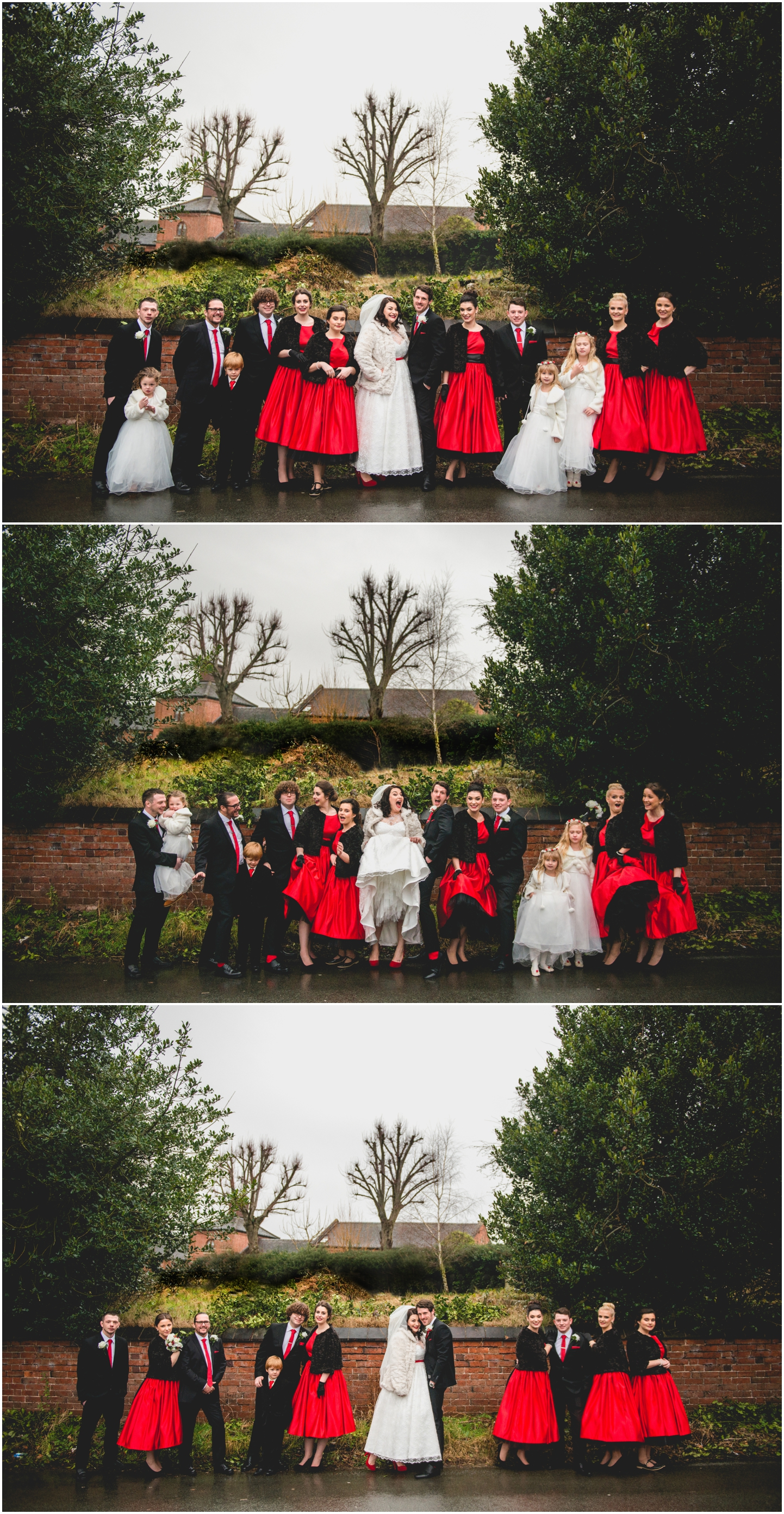 Old School House, Weeford, Winter Wedding Photography at Christmas time by Lisa Carpenter Photos, bridal party, red bridesmaids dresses