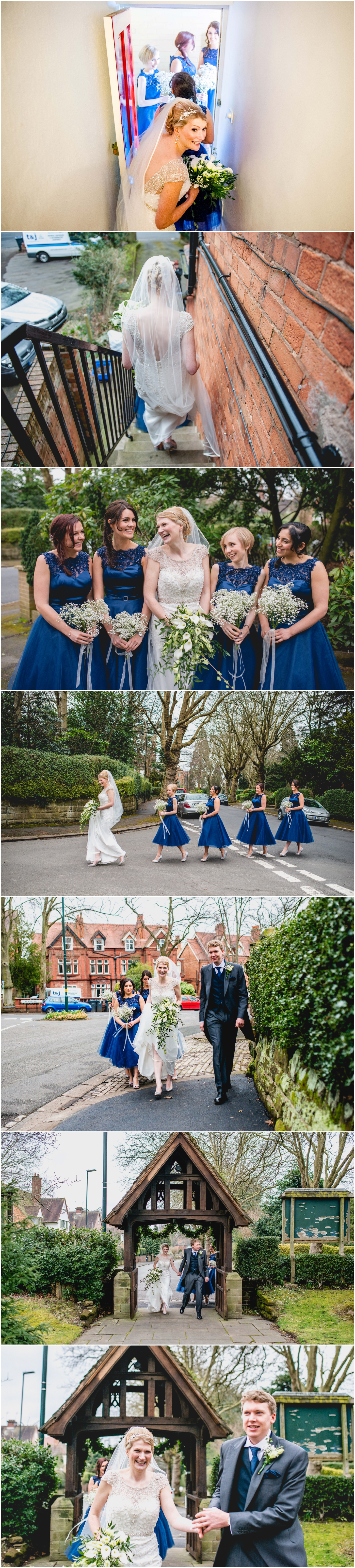 Pendrell Hall Wedding Photography by Lisa Carpenter Photography, West Midlands photographer, bridesmaids in blue