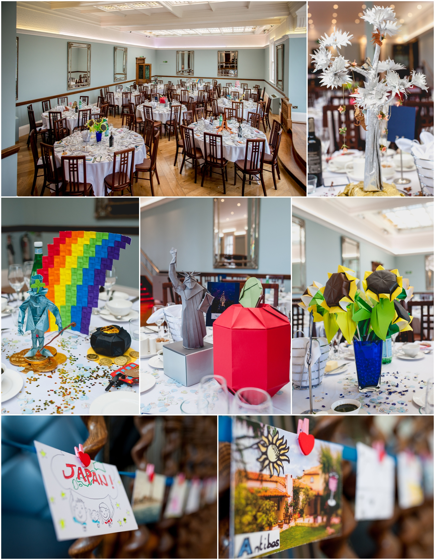 Pendrell Hall Wedding Photography by Lisa Carpenter Photography, West Midlands photographer, centrepieces, origami