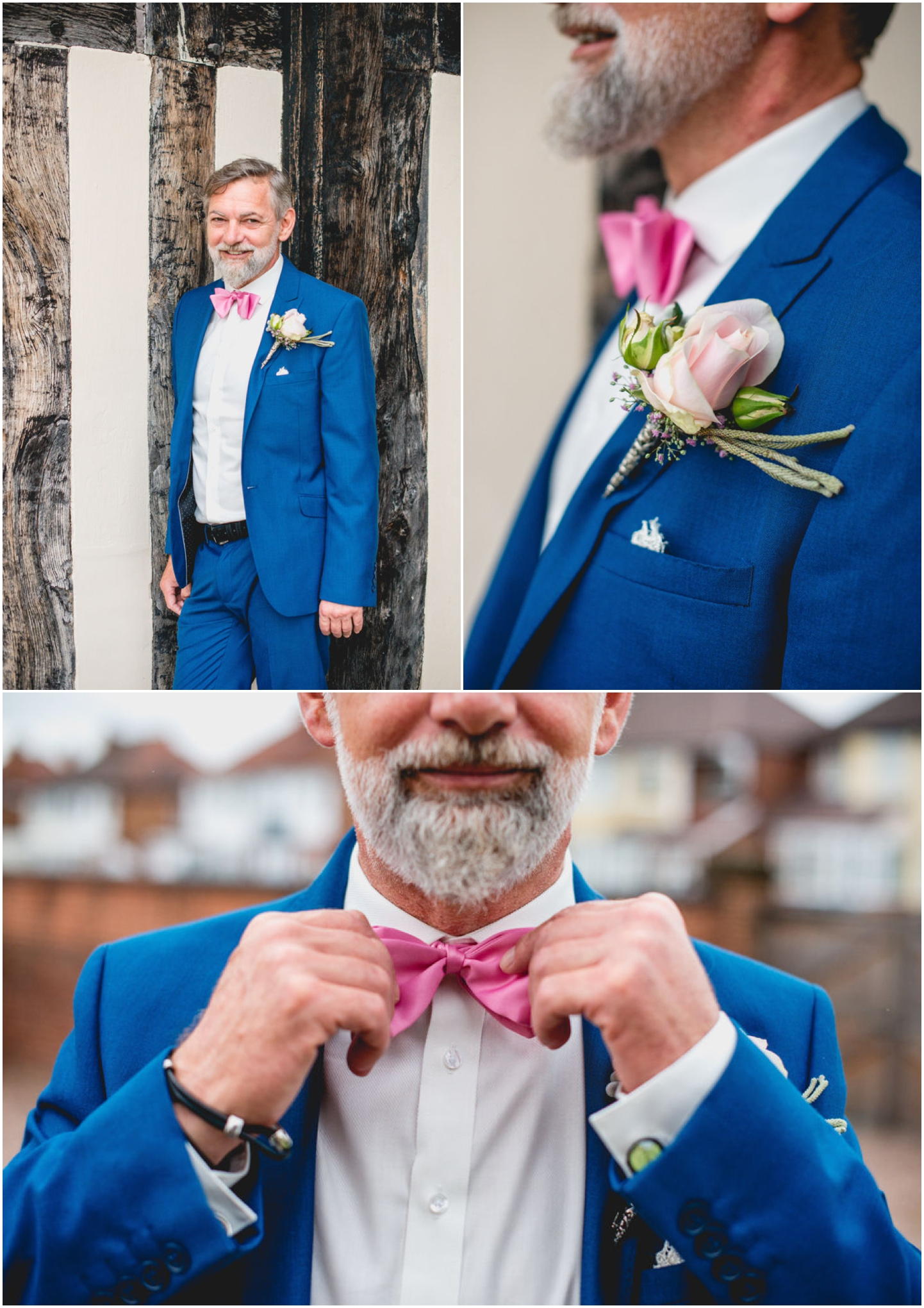 Daniella and Mark Wedding at Blakesley Hall in Birmingham, West Midlands by Lisa Carpenter Photography, Sutton Coldfield based wedding photographer, groom, blue suit, pink bow tie
