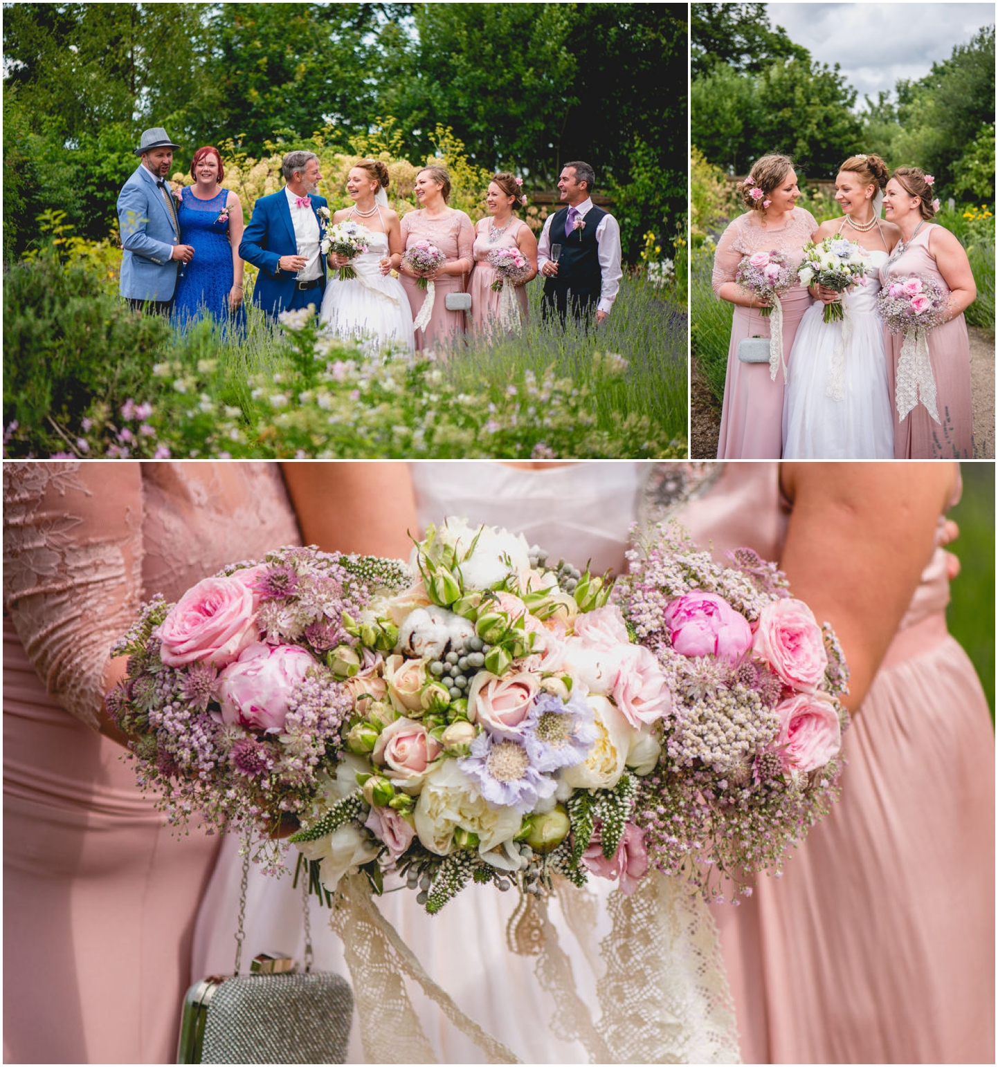 Daniella and Mark Wedding at Blakesley Hall in Birmingham, West Midlands by Lisa Carpenter Photography, Sutton Coldfield based wedding photographer, pink bridesmaids