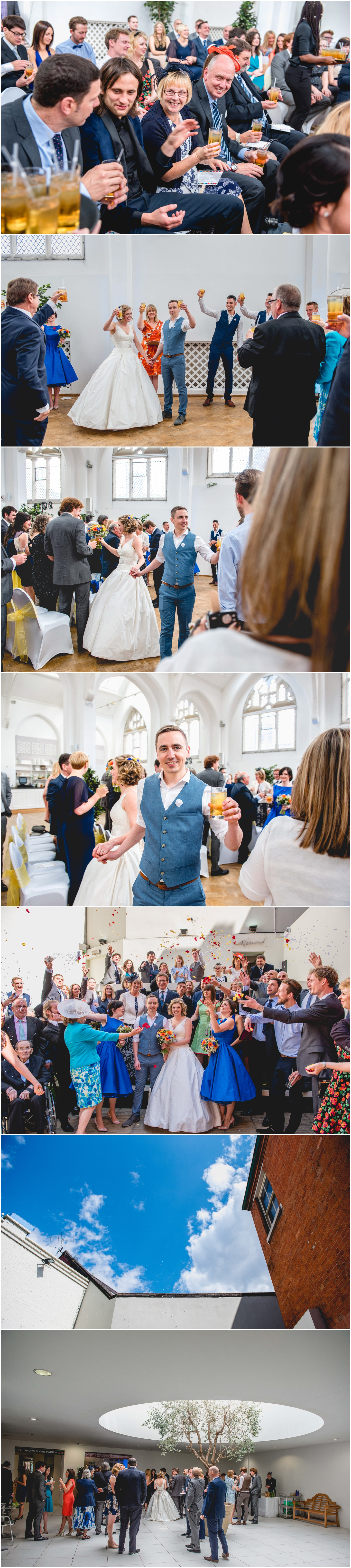 Debra and Matt's colourful Custard Factory Wedding at The Old Library in Digbeth, Birmingham. Photos by Lisa Carpenter Photography, West Midlands based wedding photographer, drinks, celebration
