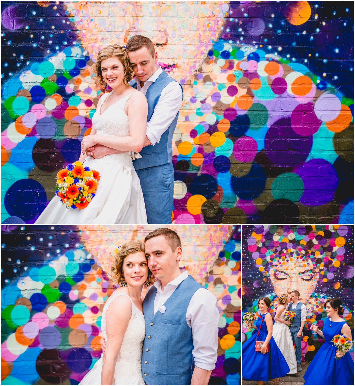 Debra and Matt's colourful Custard Factory Wedding at The Old Library in Digbeth, Birmingham. Photos by Lisa Carpenter Photography, West Midlands based wedding photographer, graffiti