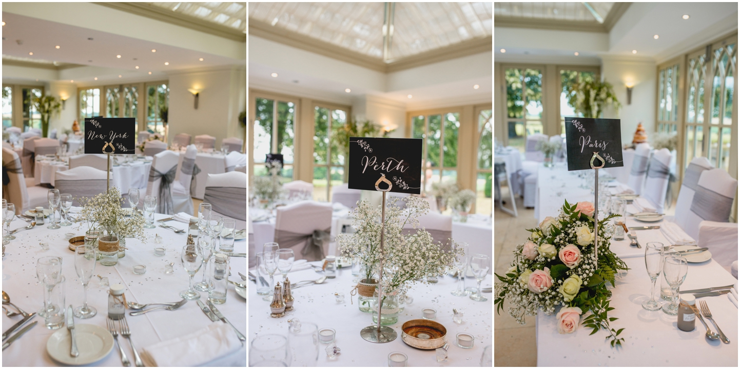 Alice and Nathan's Elegant silver and green themed wedding at The Old Vicarage, Wolverhampton, Wedding photography by Lisa Carpenter Photography, West Midlands based wedding photographer, table decorations
