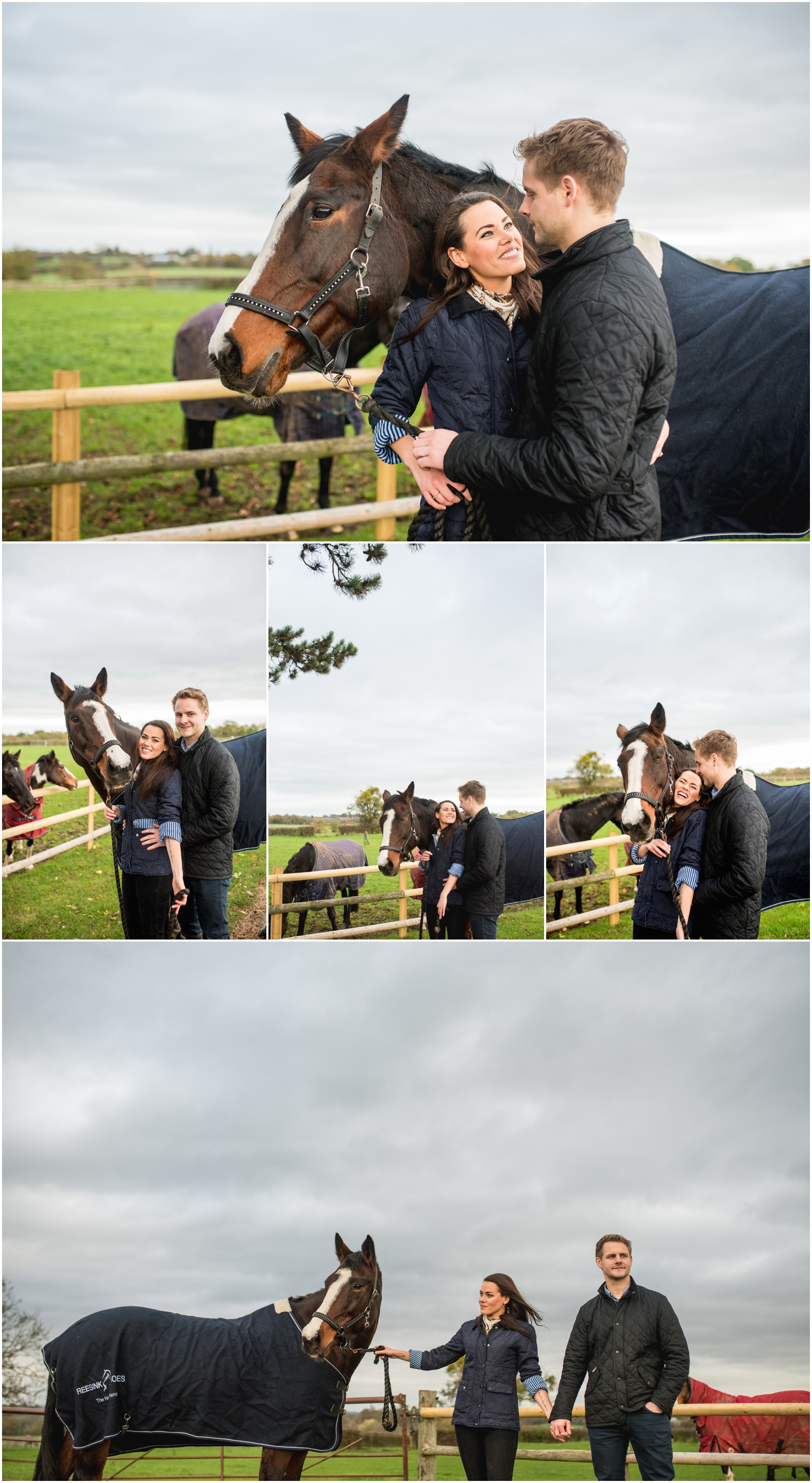 Sam and Lian's engagement shoot at the stables with horse Millie, wet and muddy with wellies by Lisa Carpenter Photography, West Midlands and Worcester based wedding photographer