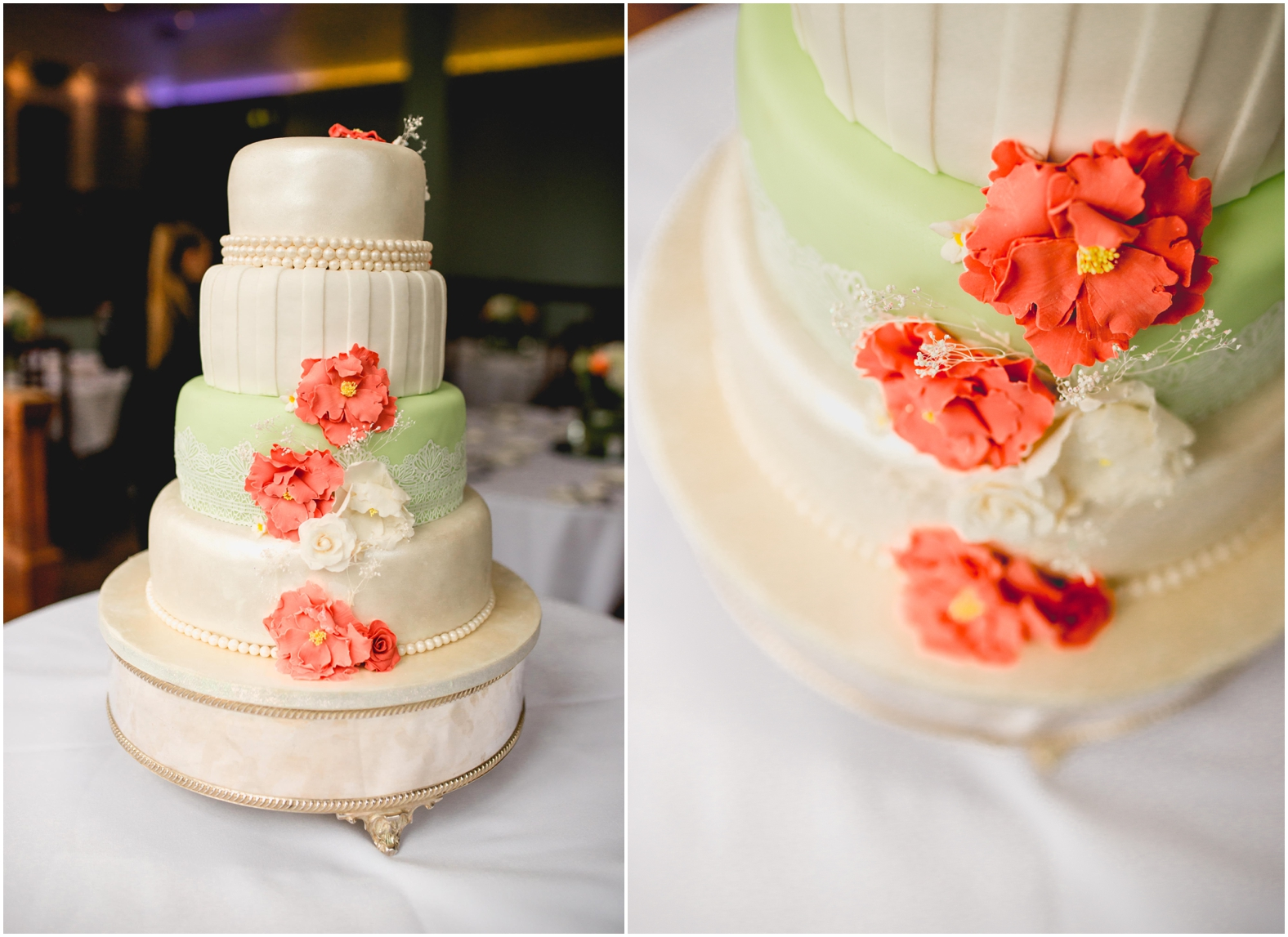 Sage and coral themed modern wedding at Pendrell Hall Wedding Photography by Lisa Carpenter Photography, West Midlands , Birmingham and Sutton Coldfield Wedding Photographer. cake