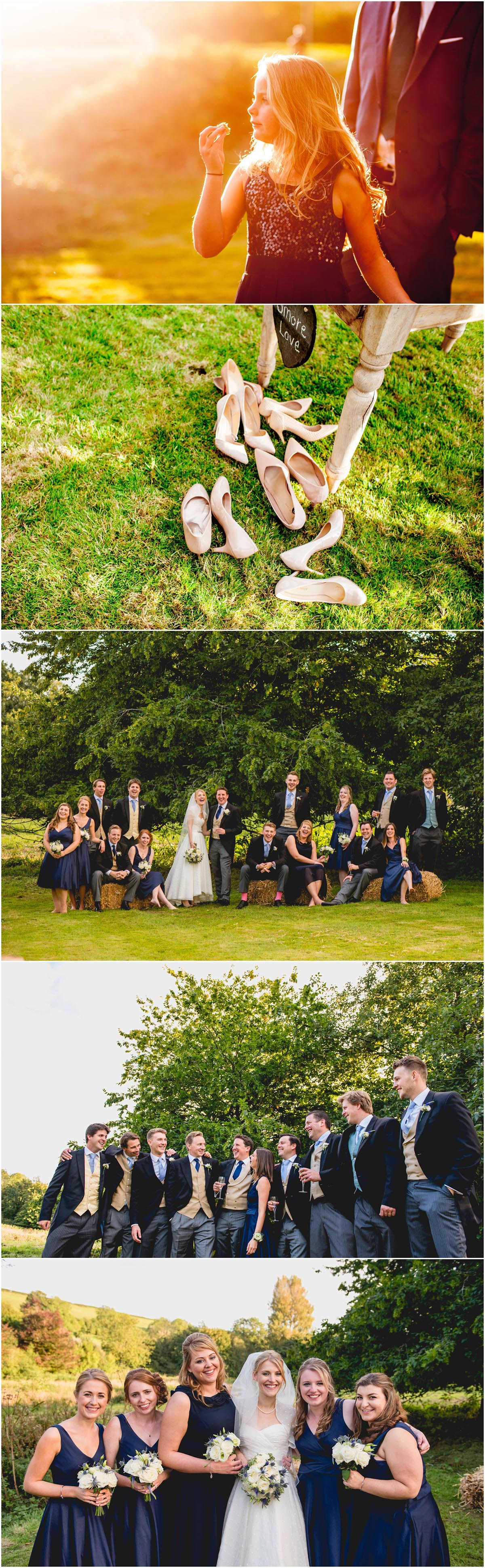 Susie and Ed's Dorset Wedding in Alton Pancras, Dorset, near Cerne Abbas, By Lisa Carpenter Photography, West Midlands, Birmingham based photographer, bridal party on hay bales