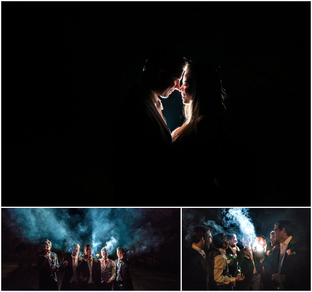 Jennifer and Scott's Swinfen Hall Wedding in Sutton Coldfield by West Midlands and Birmingham based photographer Lisa Carpenter Photography. Cigar shot at night time