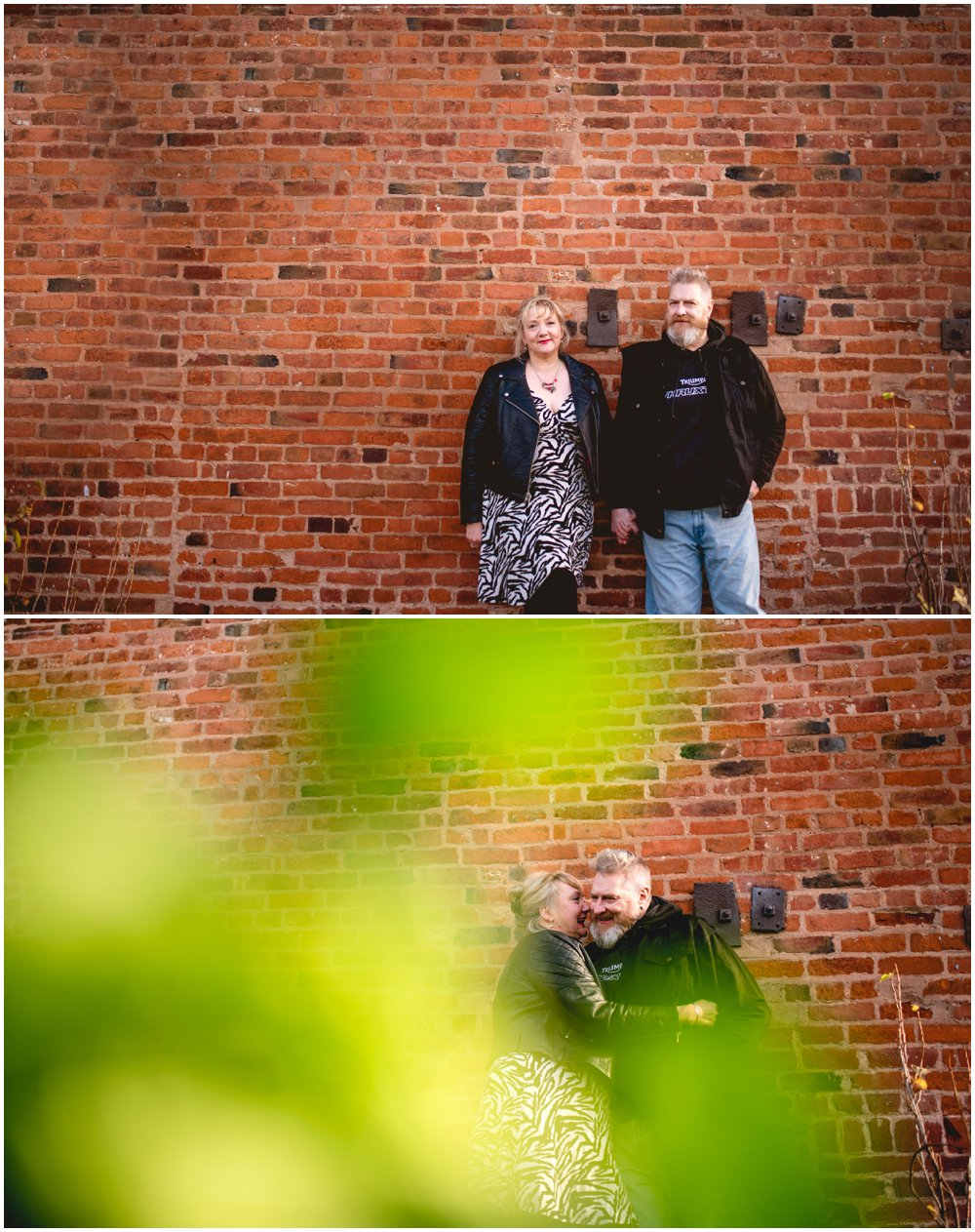 Sarah and Johnny's engagement shoot with Triumph motorbike at Sarehole Mill, Moseley, Birmingham by West Midlands based photographer Lisa Carpenter Photography