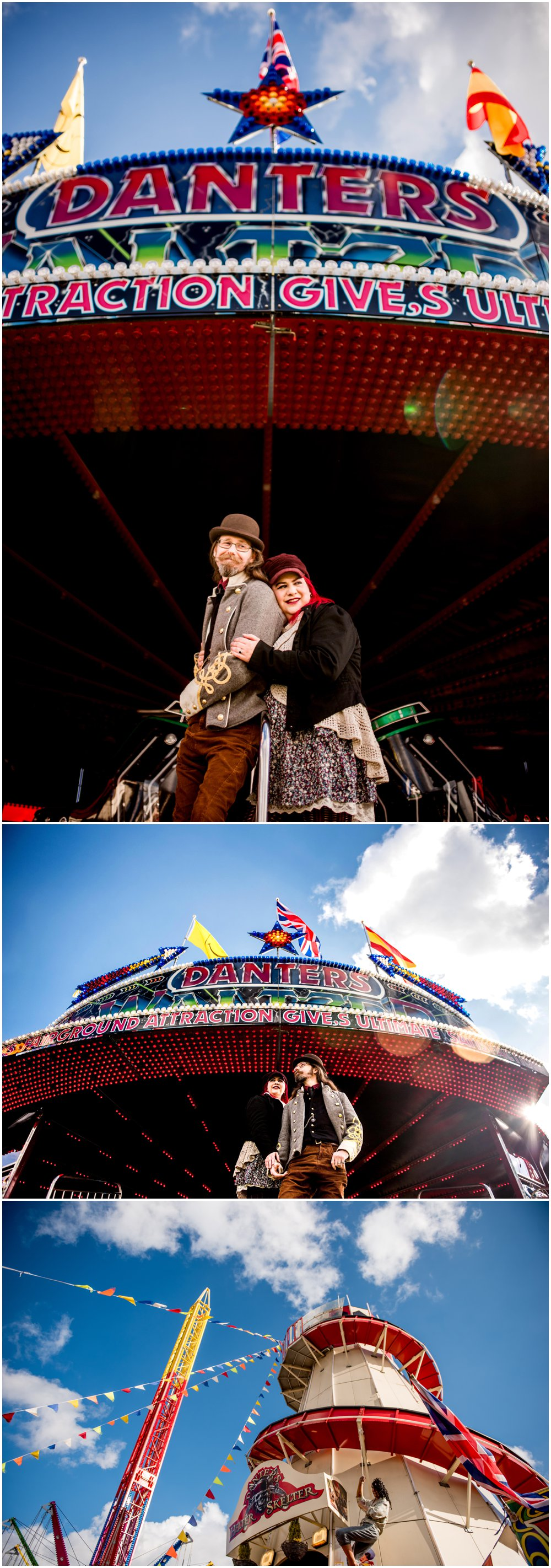 Fay and Michael's engagement shoot at Treasure Island Amusement Park Fairground in Stourport along the banks of the River Severn by Lisa Carpenter Photography, West Midlands and Birmingham based alternative wedding photographer