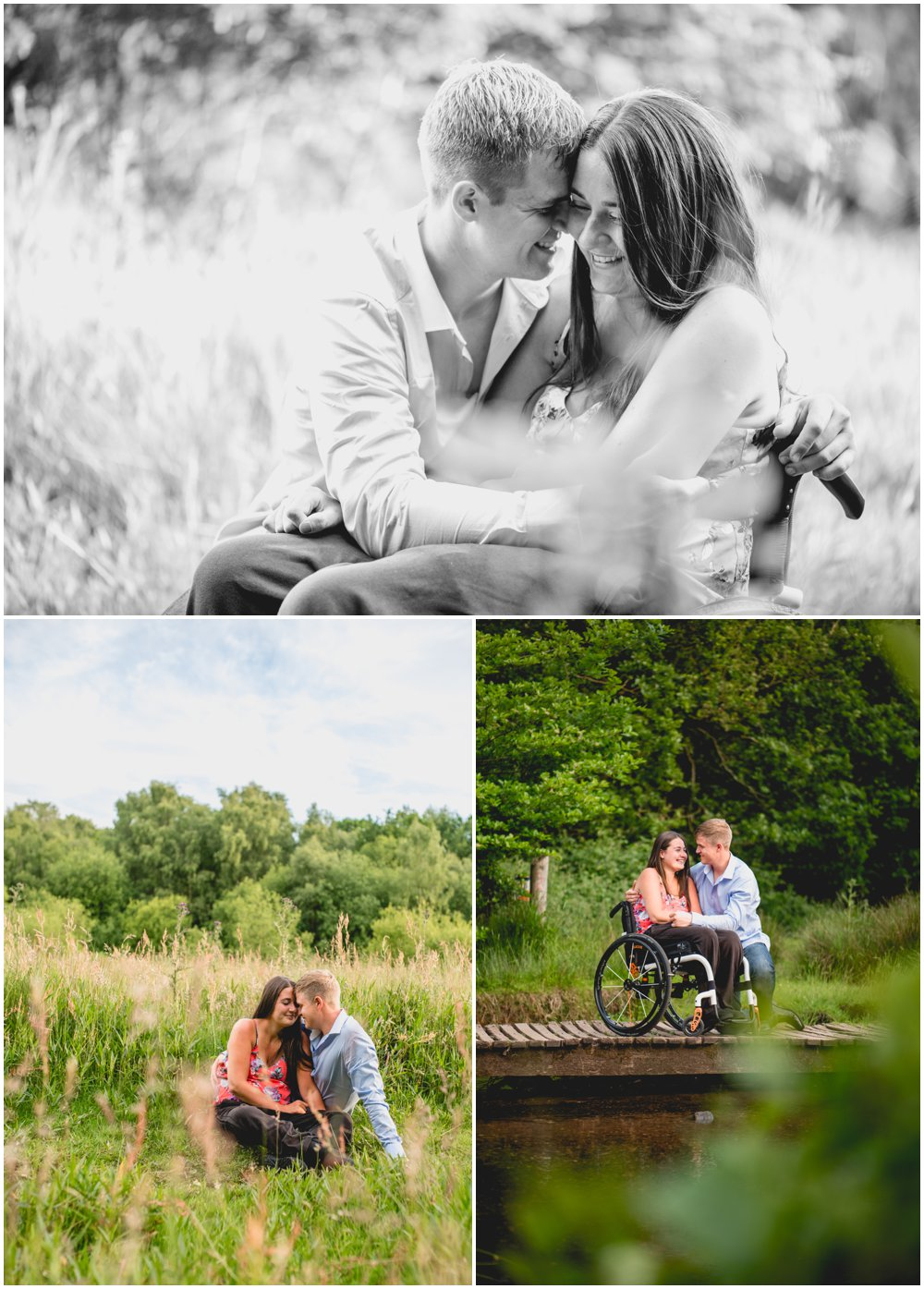 Jessica and Chris, engagement shoot in Sutton Park, Sutton Coldfield with wheelchair, photos by Lisa Carpenter Photography, Birmingham based wedding photographer