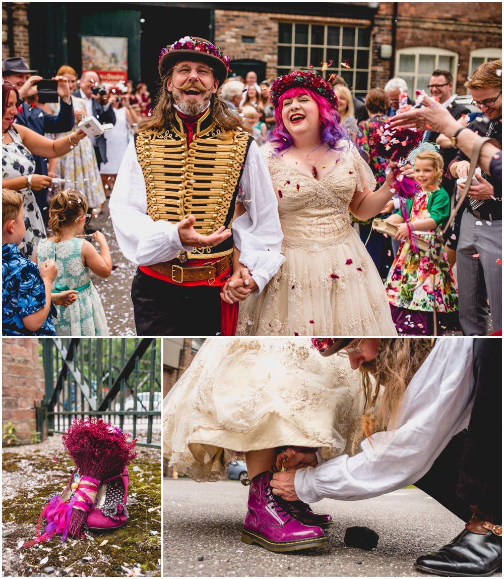 Fay and Michael - Alternative, Carnival, re-enactment themed, pink and maroon wedding at Enginuity Museum in Ironbridge, Telford by West Midlands and Birmingham based alternative wedding photographer Lisa Carpenter Photography, confetti