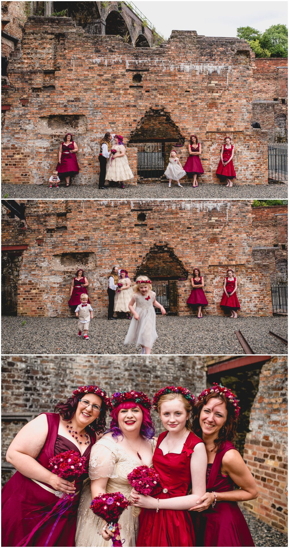 Fay and Michael - Alternative, Carnival, re-enactment themed, pink and maroon wedding at Enginuity Museum in Ironbridge, Telford by West Midlands and Birmingham based alternative wedding photographer Lisa Carpenter Photography