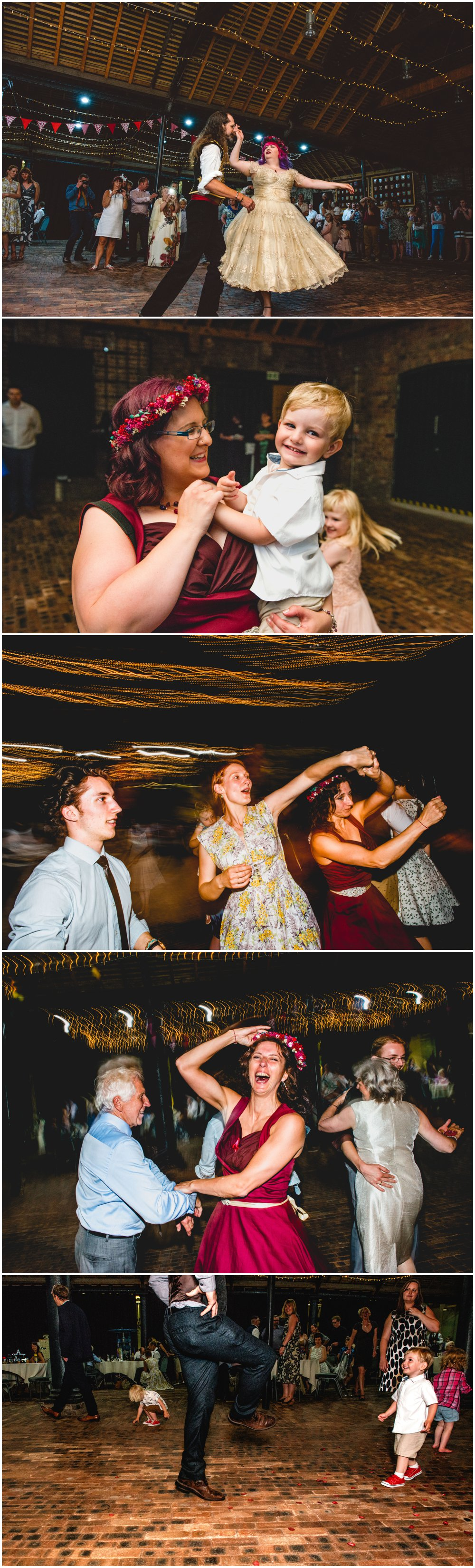 Fay and Michael - Alternative, Carnival, re-enactment themed, pink and maroon wedding at Enginuity Museum in Ironbridge, Telford by West Midlands and Birmingham based alternative wedding photographer Lisa Carpenter Photography, ceilidh