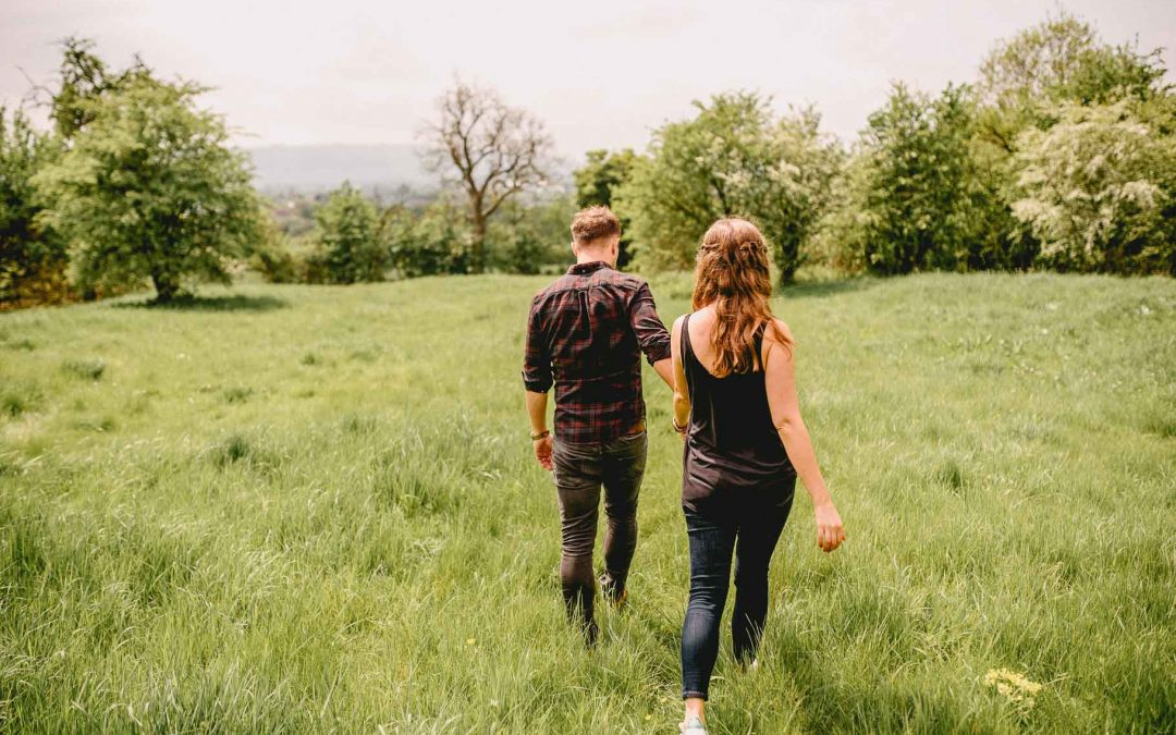 Sarah and Tom's countryside Engagement Shoot in Pershore