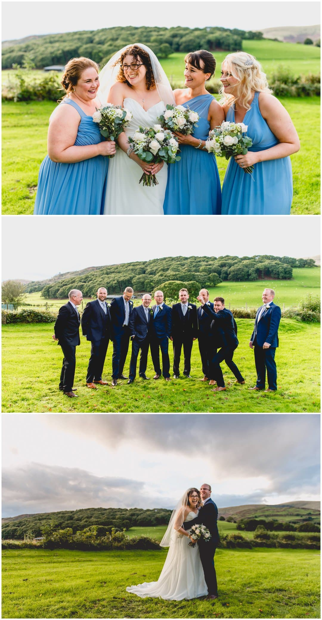 Kath and Tim's wedding in Aberdovey, Wales by West Midlands and Wales Wedding Photographer Lisa Carpenter Photography with photos on the beach and cool, alternative blue details at Lan Yr Afon Riverside Restaurant