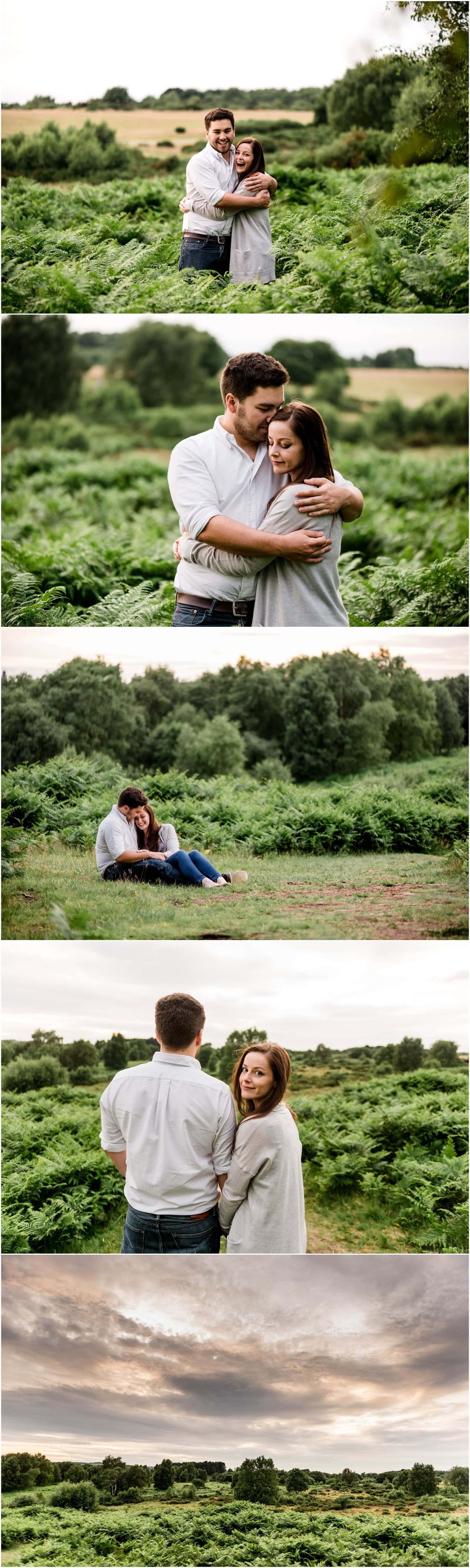 Ffion and Hefin's golden hour engagement shoot in Sutton Park, Sutton Coldfield, ahead of their wedding in Wrexham, Wales this weekend. Photos by Lisa carpenter Photography, West Midlands based wedding photographer specialising in alternative, cool and quirky wedding photos.