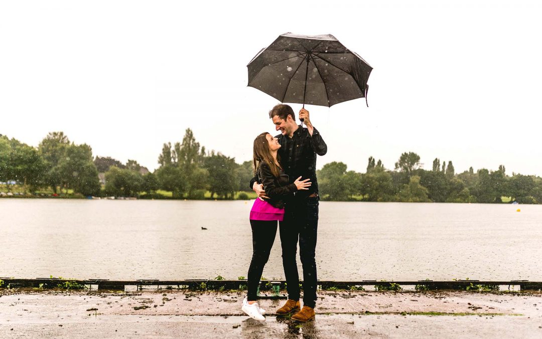 Fiona and Matt's Wet and Windy Pre-wedding Engagement Shoot in Sutton Park