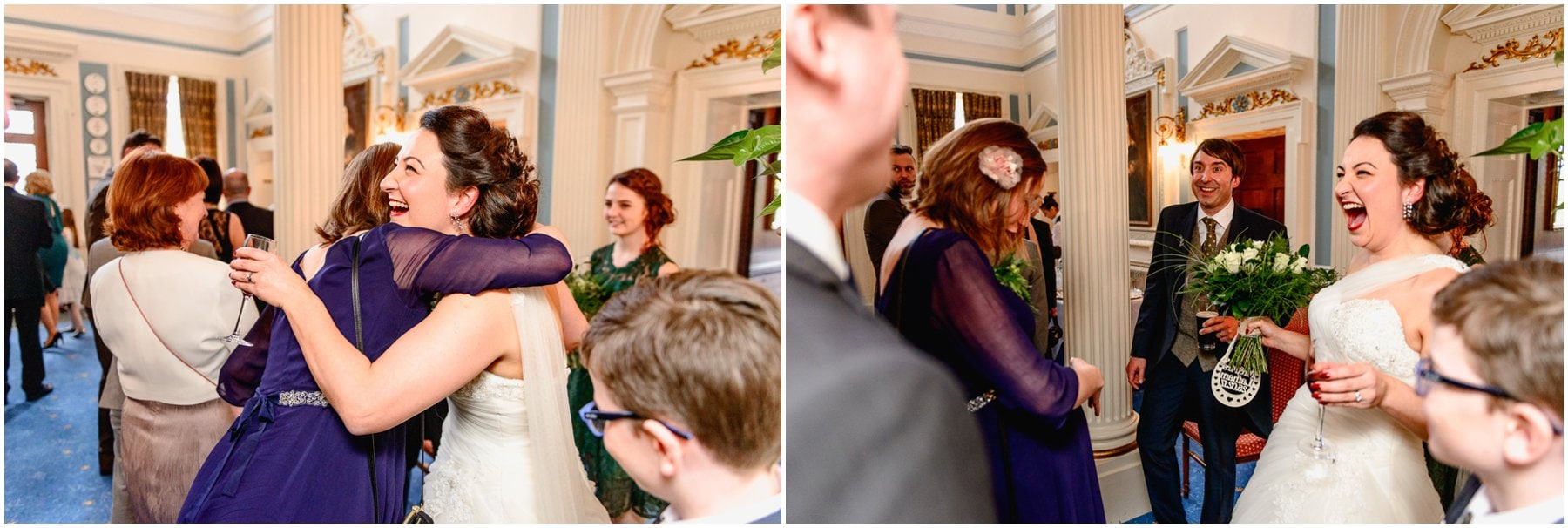 Rebecca and Andy's Swinfen Hall Wedding, by West Midlands and Birmingham based photographer Lisa Carpenter Photography. Winter wedding with wild stag theme and thistle details.