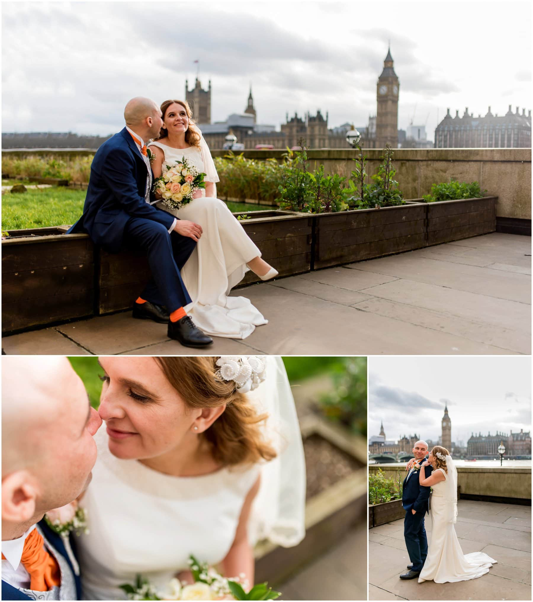 Cynthia and Jean's London wedding in Westminster at St George's Cathedral followed by a reception at the Marriot County Hall on Westminster Bride with Big Ben in the background. Photos by Lisa Carpenter Photography, London Wedding Photographer shooting cool, elegant and contemporary wedding photos.