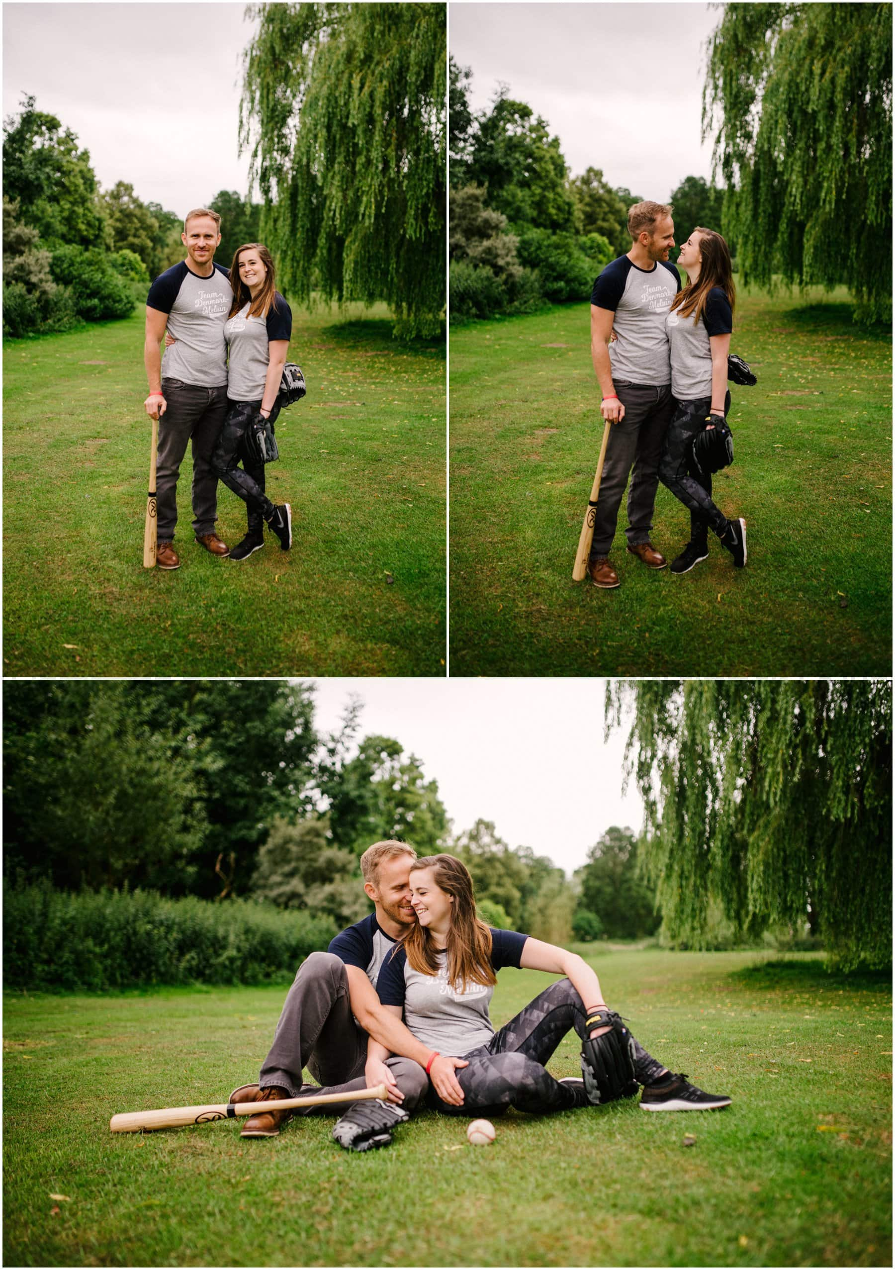 Meg and Dan's Engagement Session in Beacon Park, Lichfield, with baseball playing fun by Lisa Carpenter Photography, West Midlands and Birmingham Wedding Photographer, shooting cool, alternative and contemporary wedding photos.