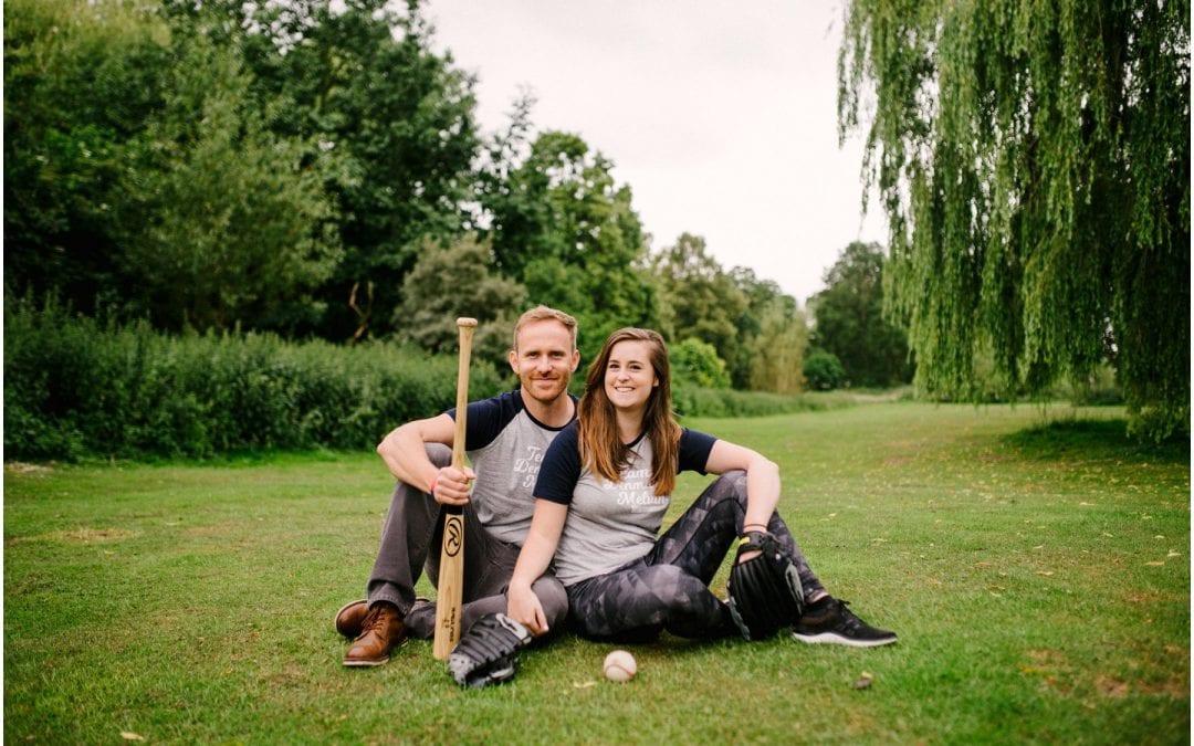 Meg and Dan's Baseball themed engagement session in Beacon Park, Lichfield