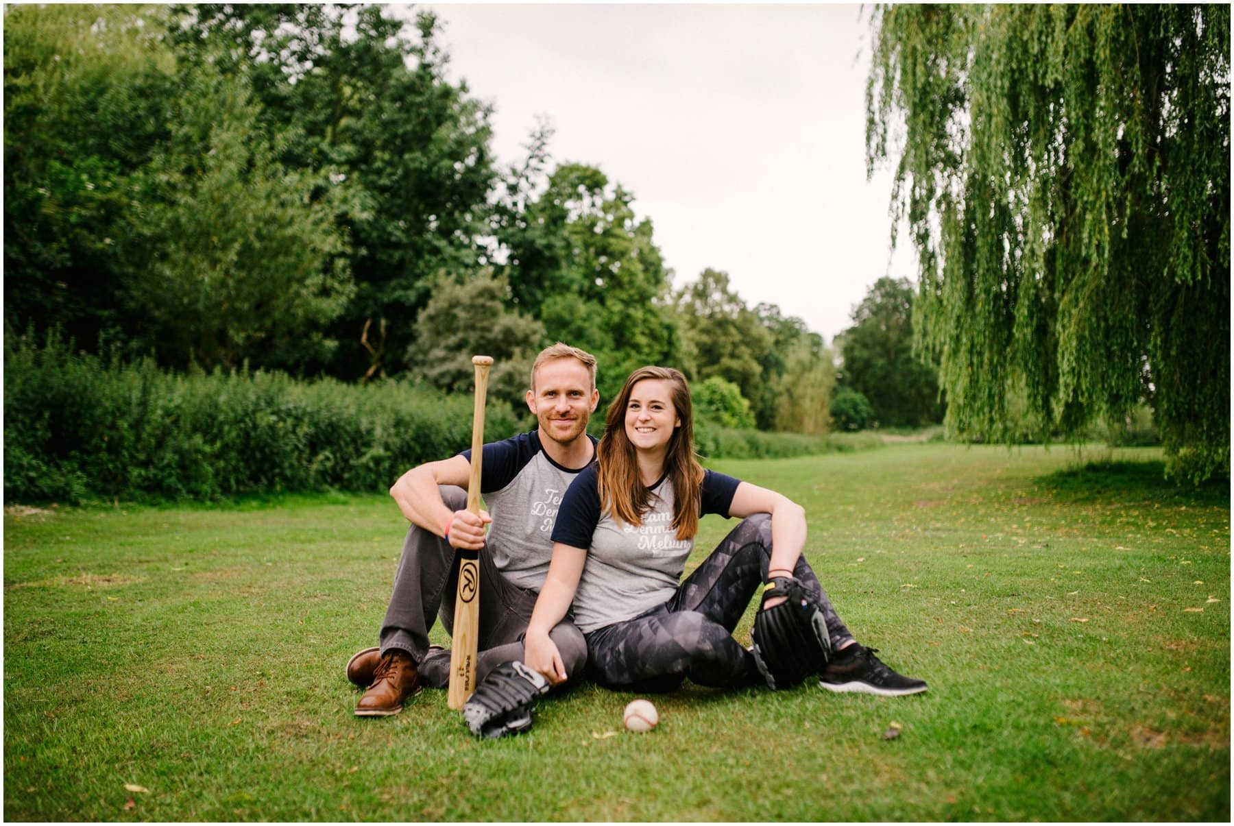 Meg and Dan's Baseball themed engagement session in Beacon Park, Lichfield