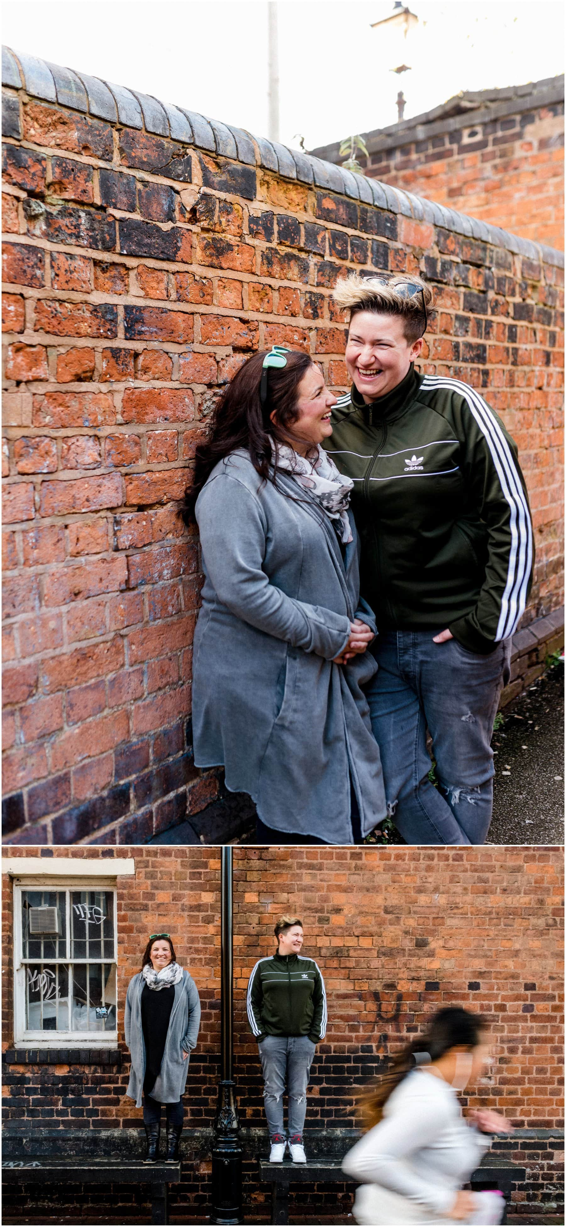 Becca and Suzy's Canalside Engagement Shoot around The Mailbox and The Cube in Birmingham City Centre. Photos by Lisa Carpenter Photography, West Midlands and Birmingham Wedding Photographer shooting alternative, cool and contemporary wedding photos.
