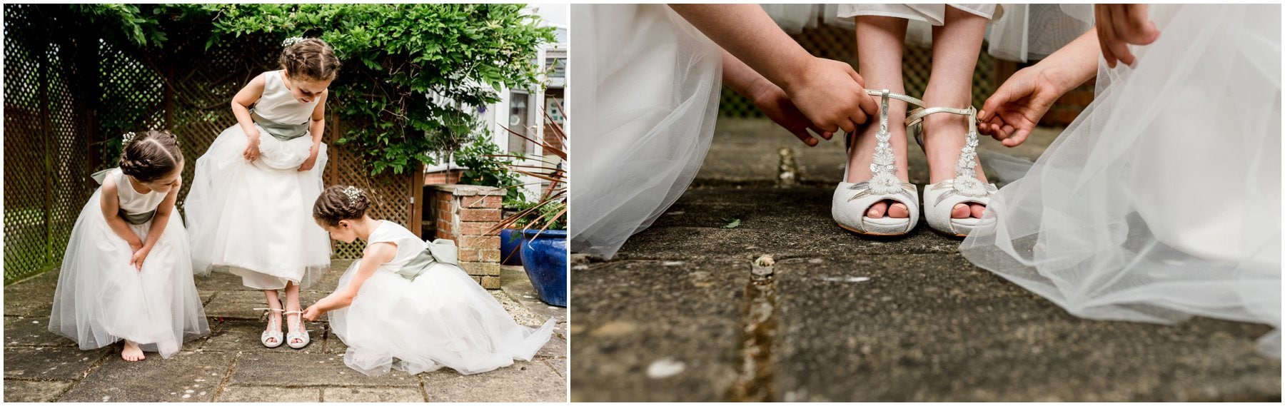 Ffion and Hefin's beautiful, elegant summer wedding at Ten Dwr Hall in Llangollen, Wales with wild flowers and sage colours by West Midlands and Wales Wedding photographer Lisa Carpenter Photography, specialising in cool, contemporary wedding photos. Flower girls trying on brides shoes. Rachel Simpson shoes.