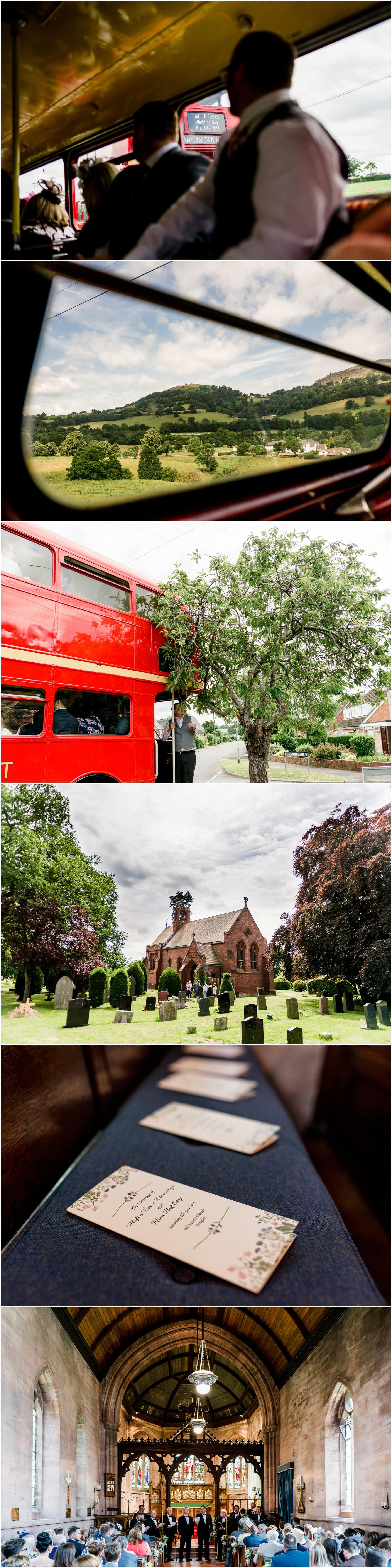 Ffion and Hefin's beautiful, elegant summer wedding at Ten Dwr Hall in Llangollen, Wales with wild flowers and sage colours by West Midlands and Wales Wedding photographer Lisa Carpenter Photography, specialising in cool, contemporary wedding photos. Wedding transport, big red bus.