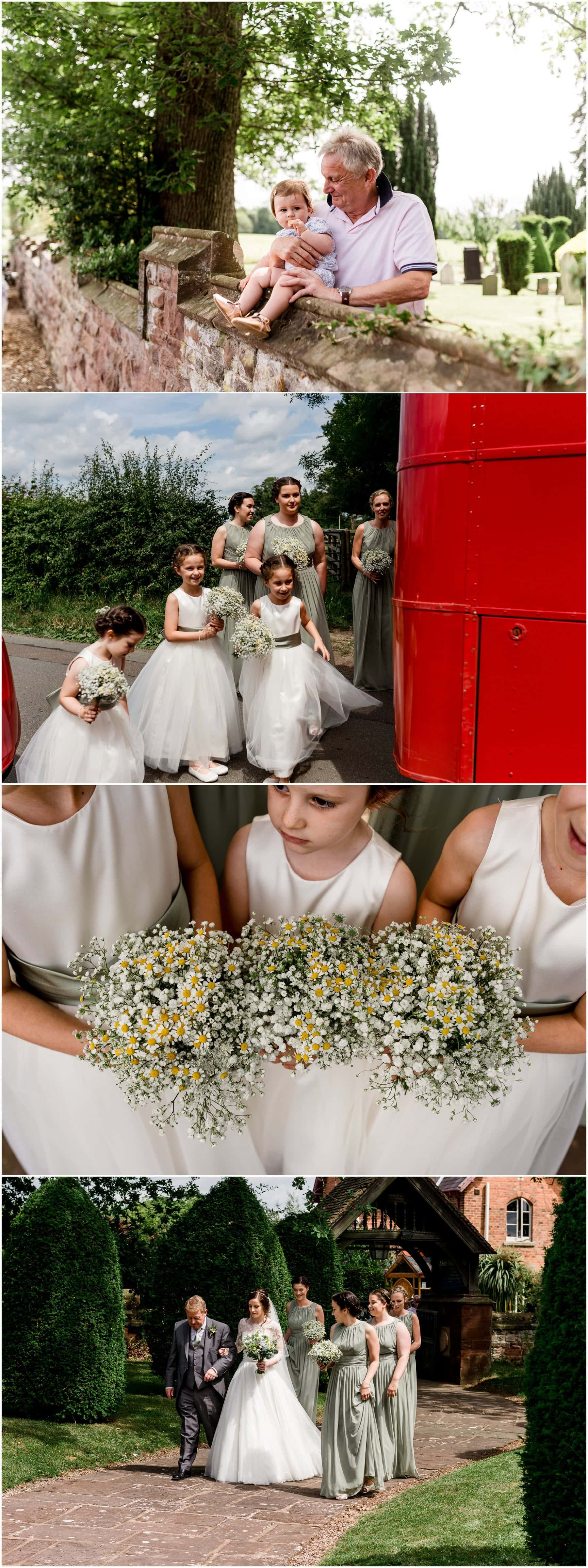 Ffion and Hefin's beautiful, elegant summer wedding at Ten Dwr Hall in Llangollen, Wales with wild flowers and sage colours by West Midlands and Wales Wedding photographer Lisa Carpenter Photography, specialising in cool, contemporary wedding photos. Brides arrival at church.
