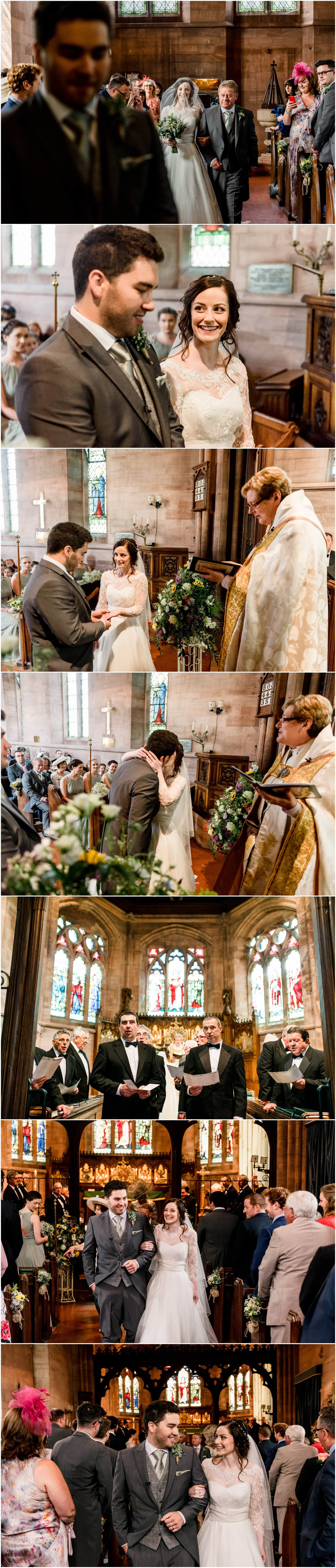 Ffion and Hefin's beautiful, elegant summer wedding at Ten Dwr Hall in Llangollen, Wales with wild flowers and sage colours by West Midlands and Wales Wedding photographer Lisa Carpenter Photography, specialising in cool, contemporary wedding photos. Brides arrival at church. Rhos Male Voice Choir.
