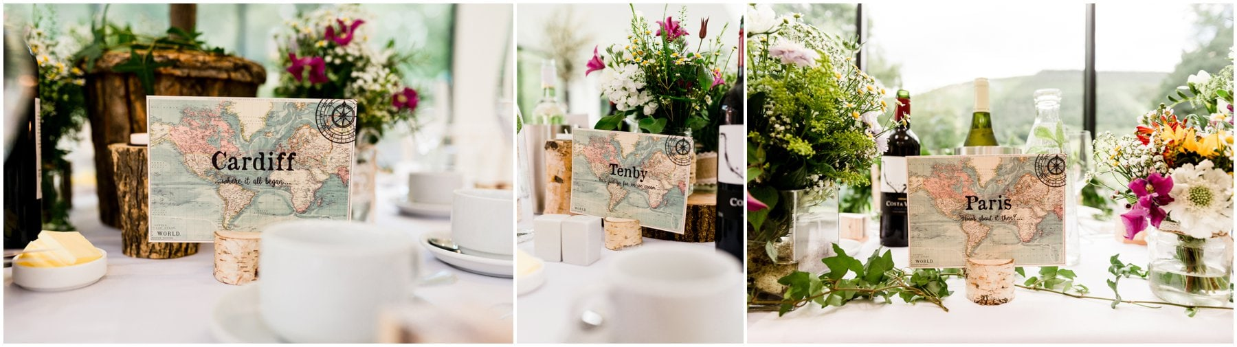 Ffion and Hefin's beautiful, elegant summer wedding at Ten Dwr Hall in Llangollen, Wales with wild flowers and sage colours by West Midlands and Wales Wedding photographer Lisa Carpenter Photography, specialising in cool, contemporary wedding photos. Details and table decoration.