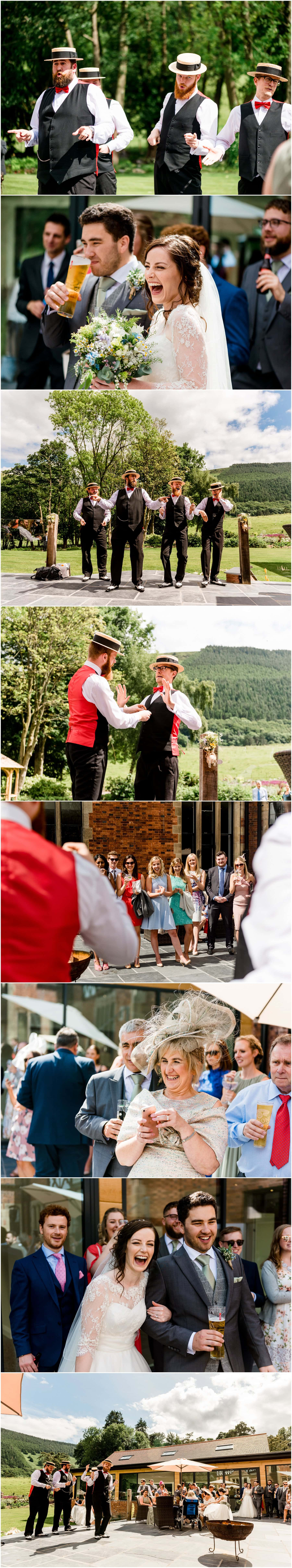 Ffion and Hefin's beautiful, elegant summer wedding at Ten Dwr Hall in Llangollen, Wales with wild flowers and sage colours by West Midlands and Wales Wedding photographer Lisa Carpenter Photography, specialising in cool, contemporary wedding photos. Afternoon Delight Barbershop Quartet.