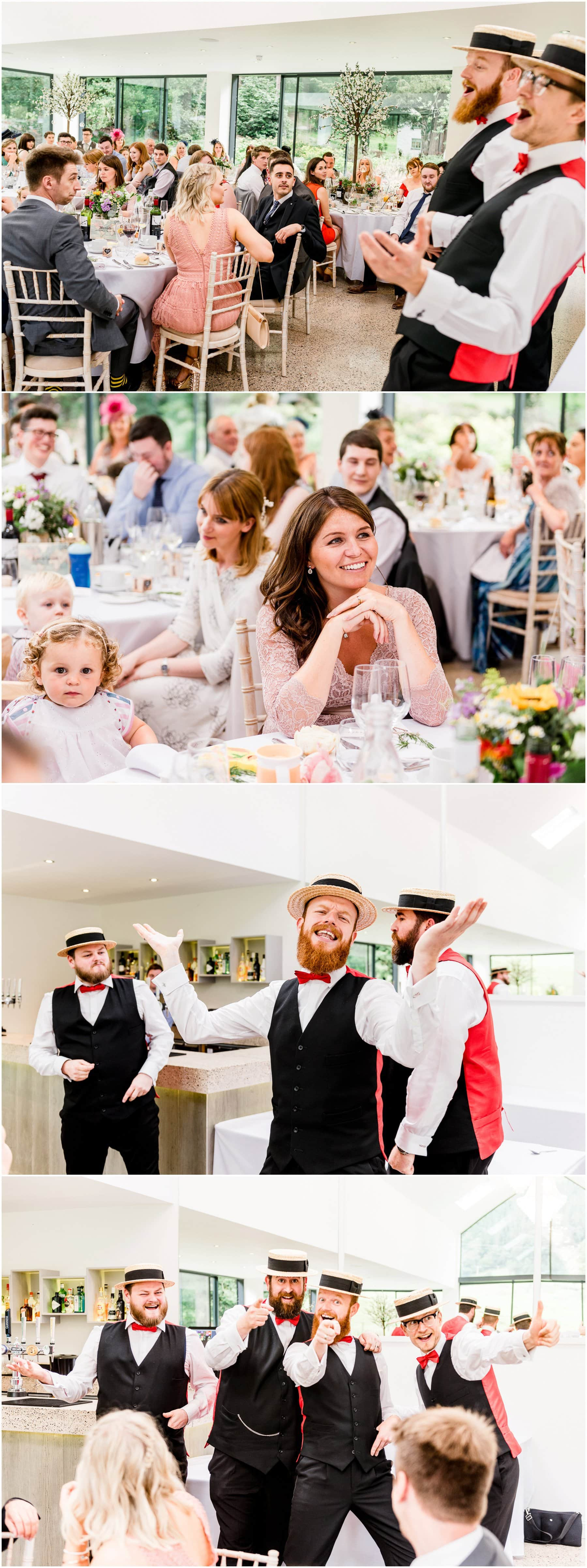 Ffion and Hefin's beautiful, elegant summer wedding at Ten Dwr Hall in Llangollen, Wales with wild flowers and sage colours by West Midlands and Wales Wedding photographer Lisa Carpenter Photography, specialising in cool, contemporary wedding photos. Afternoon Delight Barbershop Quartet entertaining the guests.