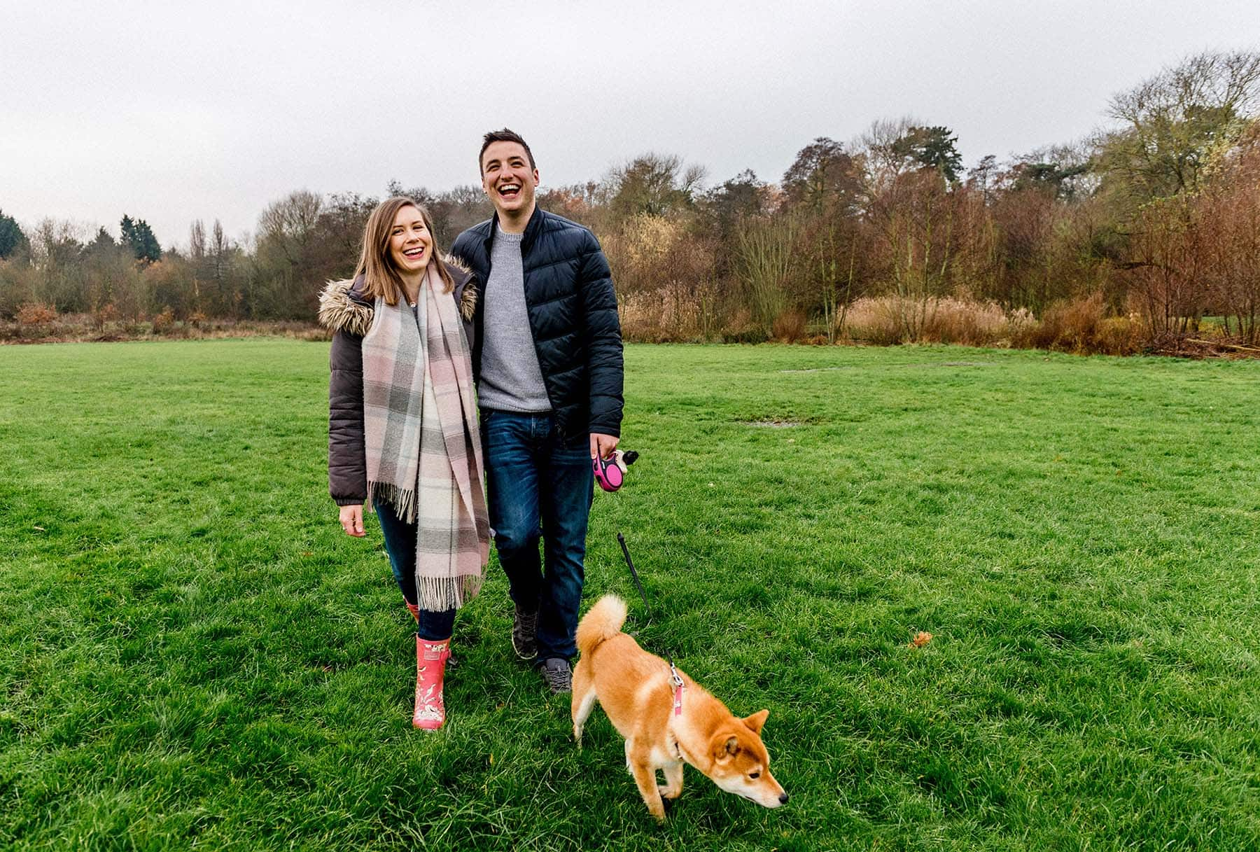 Emilia and Luke's Engagement Shoot at Elmdon Nature Park with a beautiful pup!