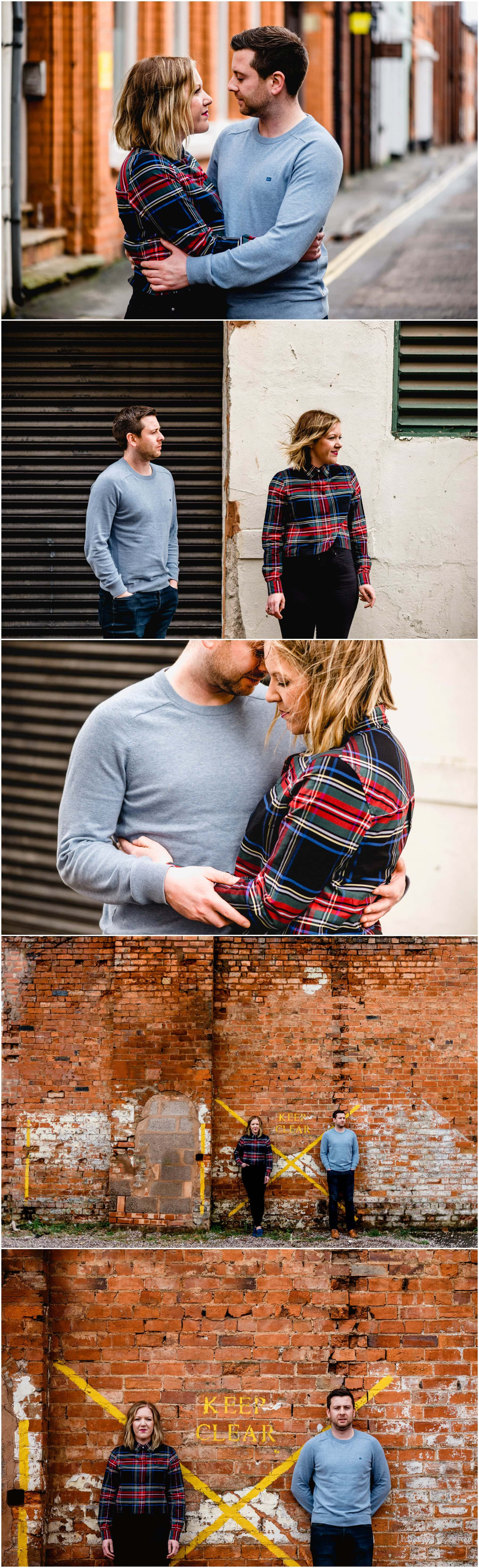 Bec and Stu against urban backdrops in Birmingham's Jewellery Quarter for their engagement shoot