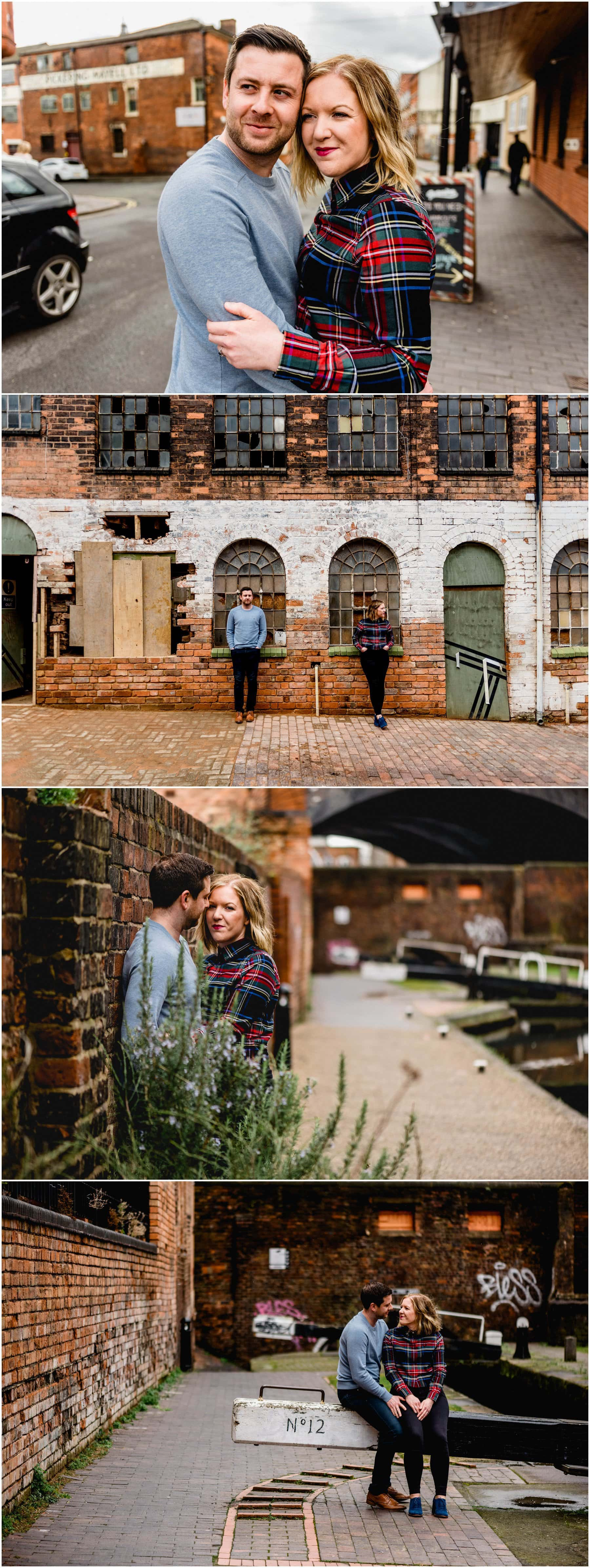 Canalside location for Bec and Stu's engagement shoot in Birmingham\s Jewellery Quarter