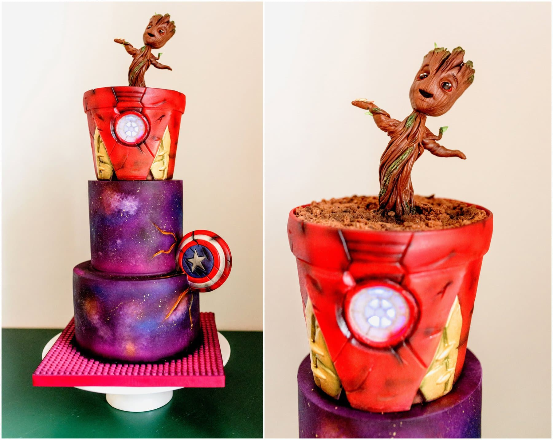 Cartoon wedding cake featuring Grut and other Avengers and Guardians and the Galaxy features, bright colours and space design wedding cake