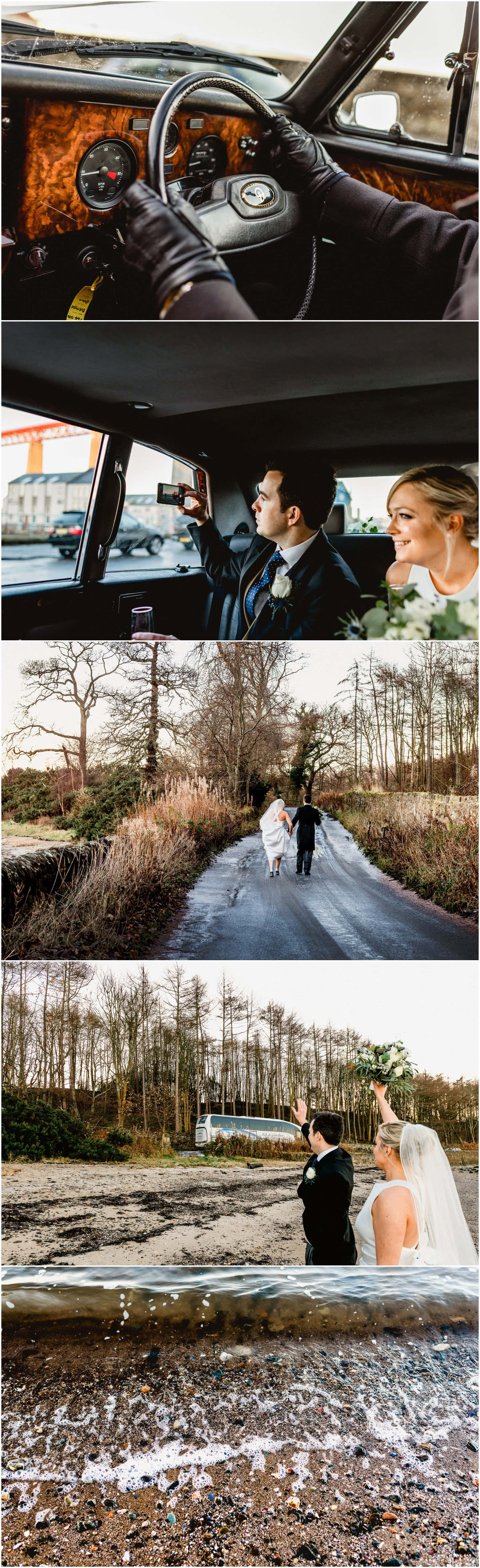 Bride and groom heading towards beach in South Queensferry on cold December day, bride in Jimmy Choo's walking on icy roads with groom at her side.