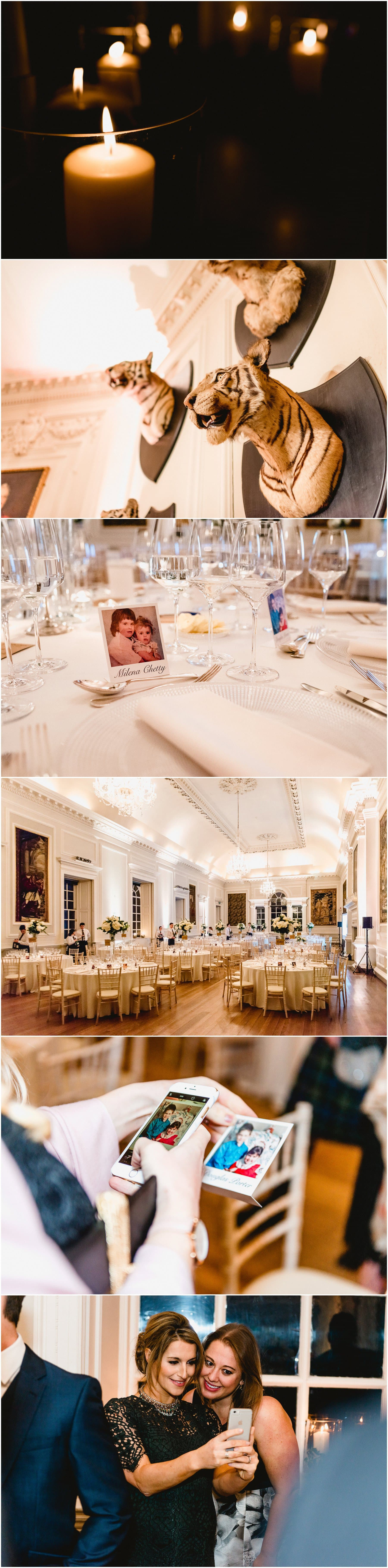 Hopetoun House wedding reception, wedding breakfast room details, simple, elegant design with Polaroid photos for table names.