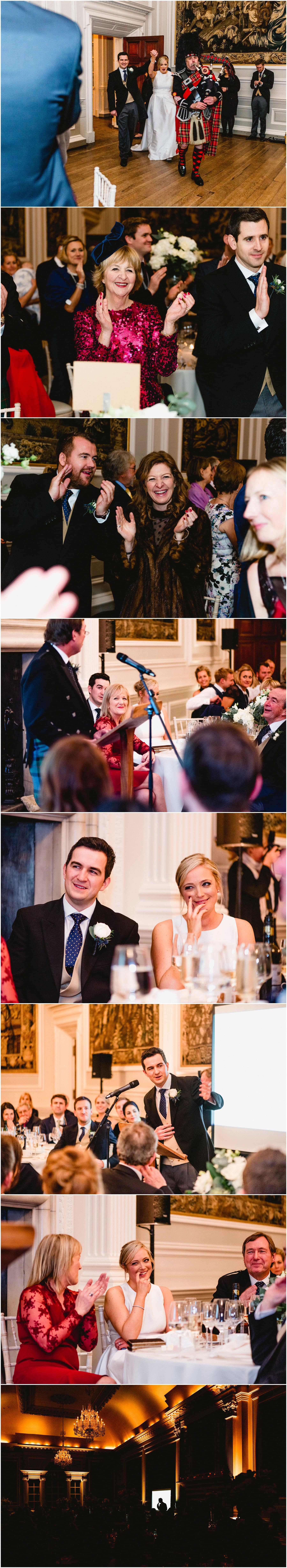 Speeches photos at Hopetoun House during winter wedding, bride and groom laughing