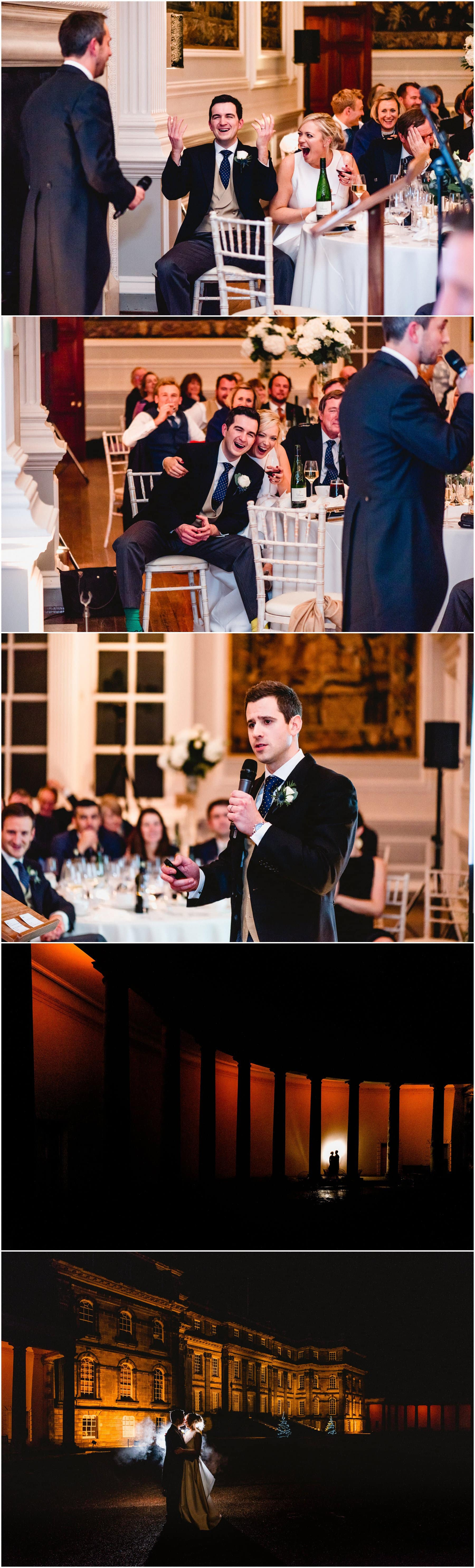 Speeches photos at Hopetoun House with bride and groom reactions and guests laughing followed by photos of bride and groom backlit against exterior of Hopetoun House for evening portraits with smoke