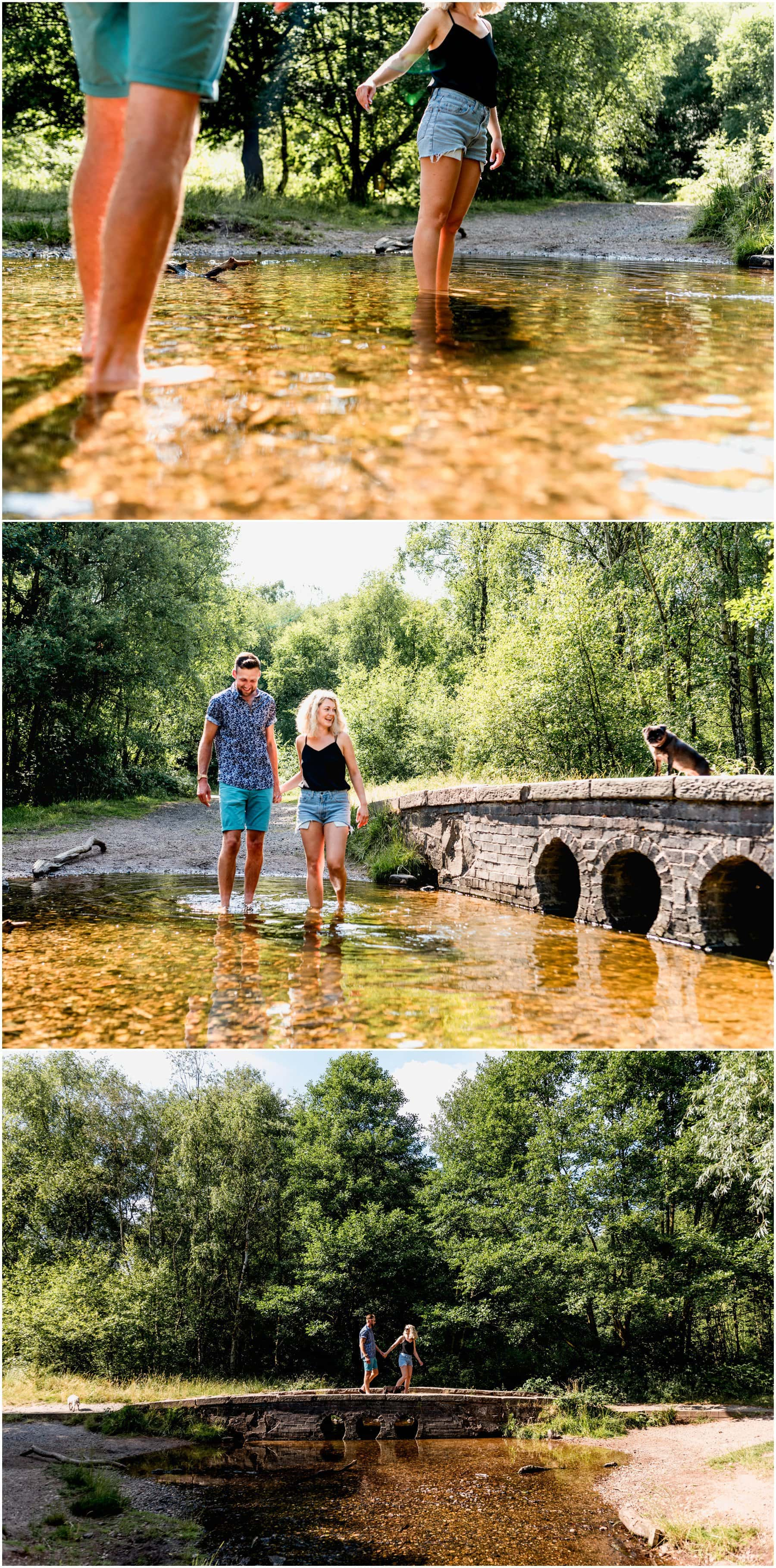 pre wedding shoot with meg and tom paddling in the brook next to a bridge being watched by their pug