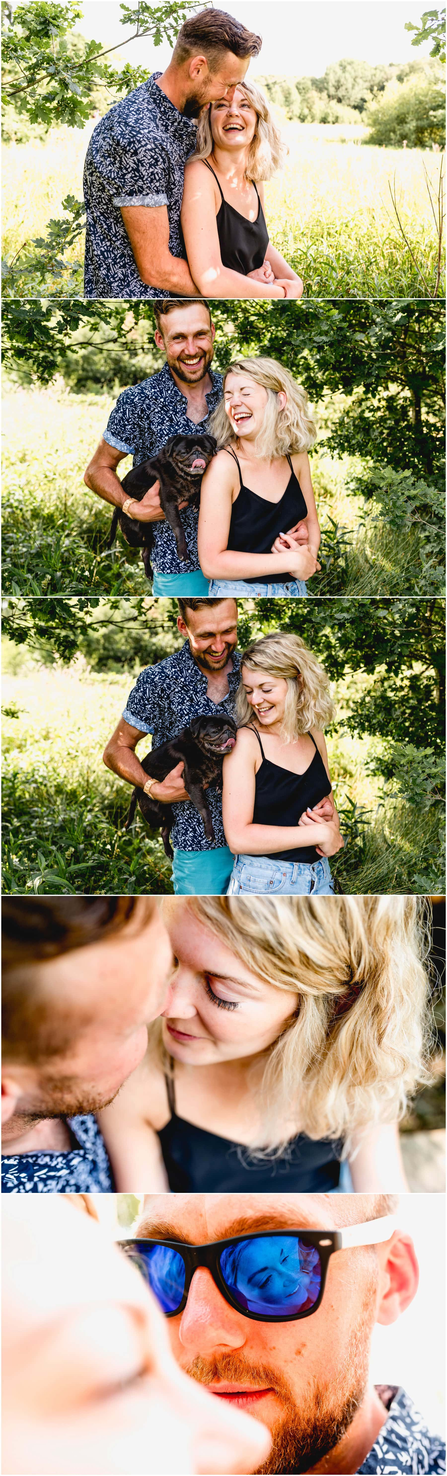 couple shoot in a field with pug