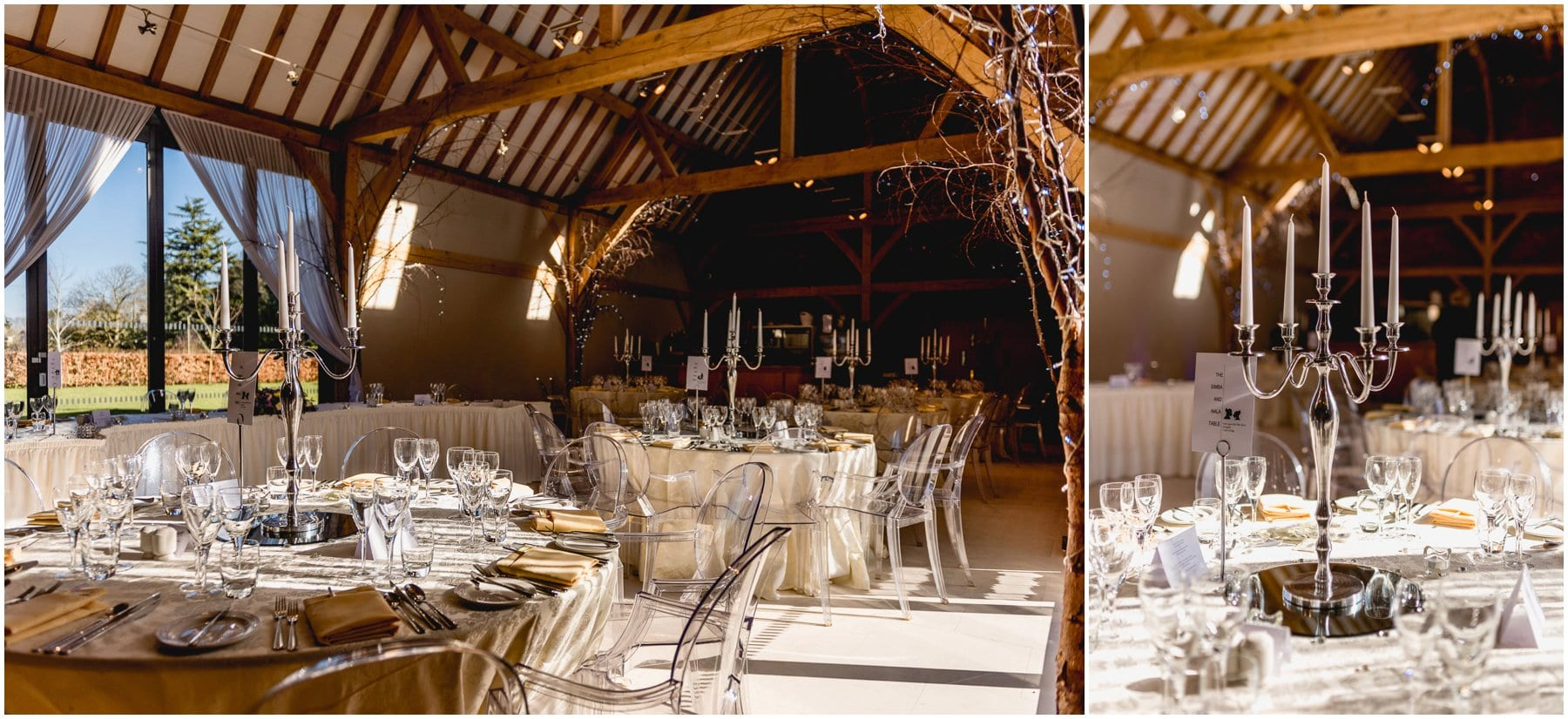 Wedding breakfast room details at Redhouse Barn Wedding Venue.