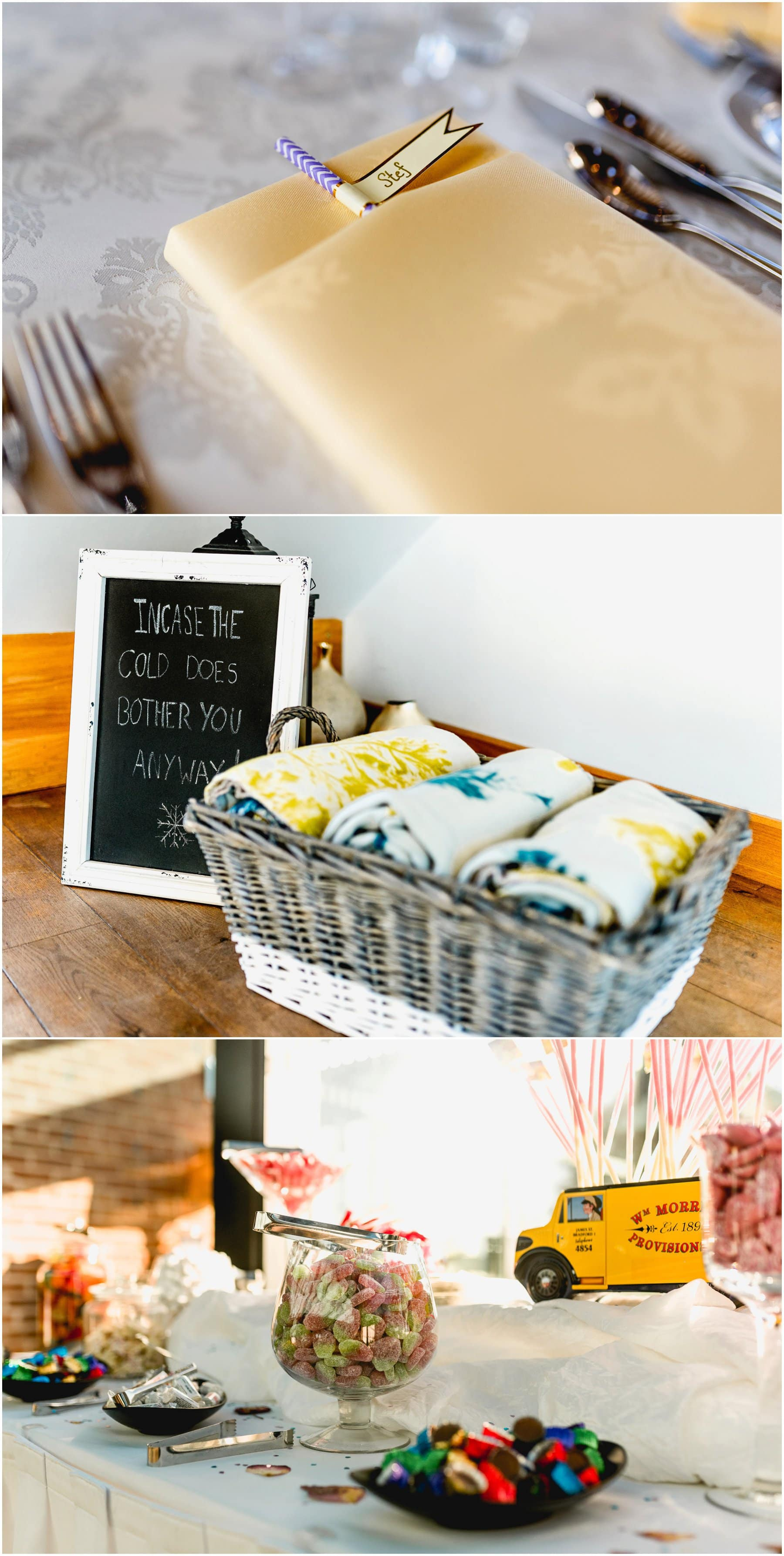 Wedding blankets to keep warm in the winter with frozen sign